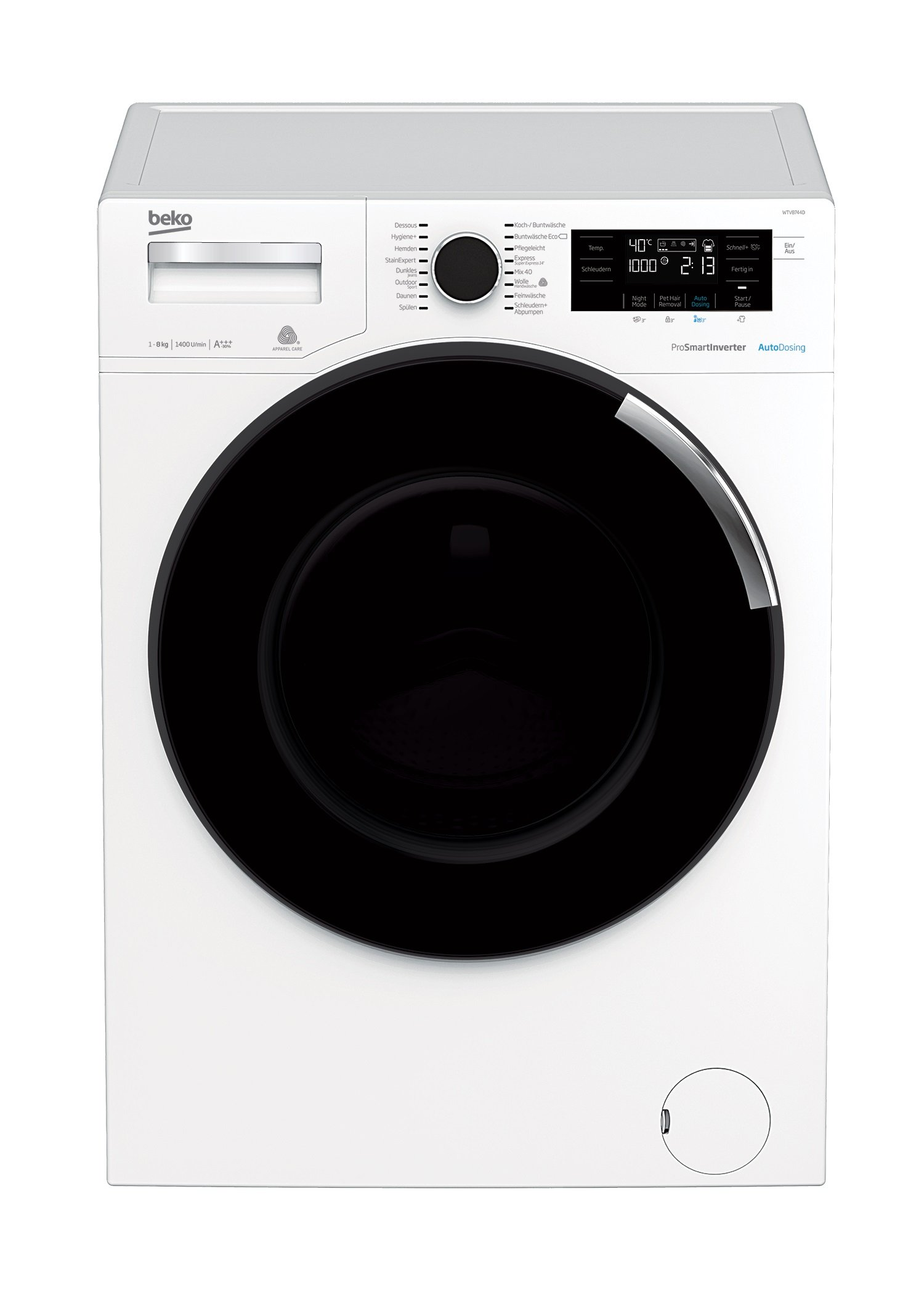 Beko-WTV8744D-Waschmaschine-A-1400-UpM-8-kg-Wei-Dosierungsautomatik-AutoDosing-Pet-Hair-Removal-Funktion-Mengenautomatik