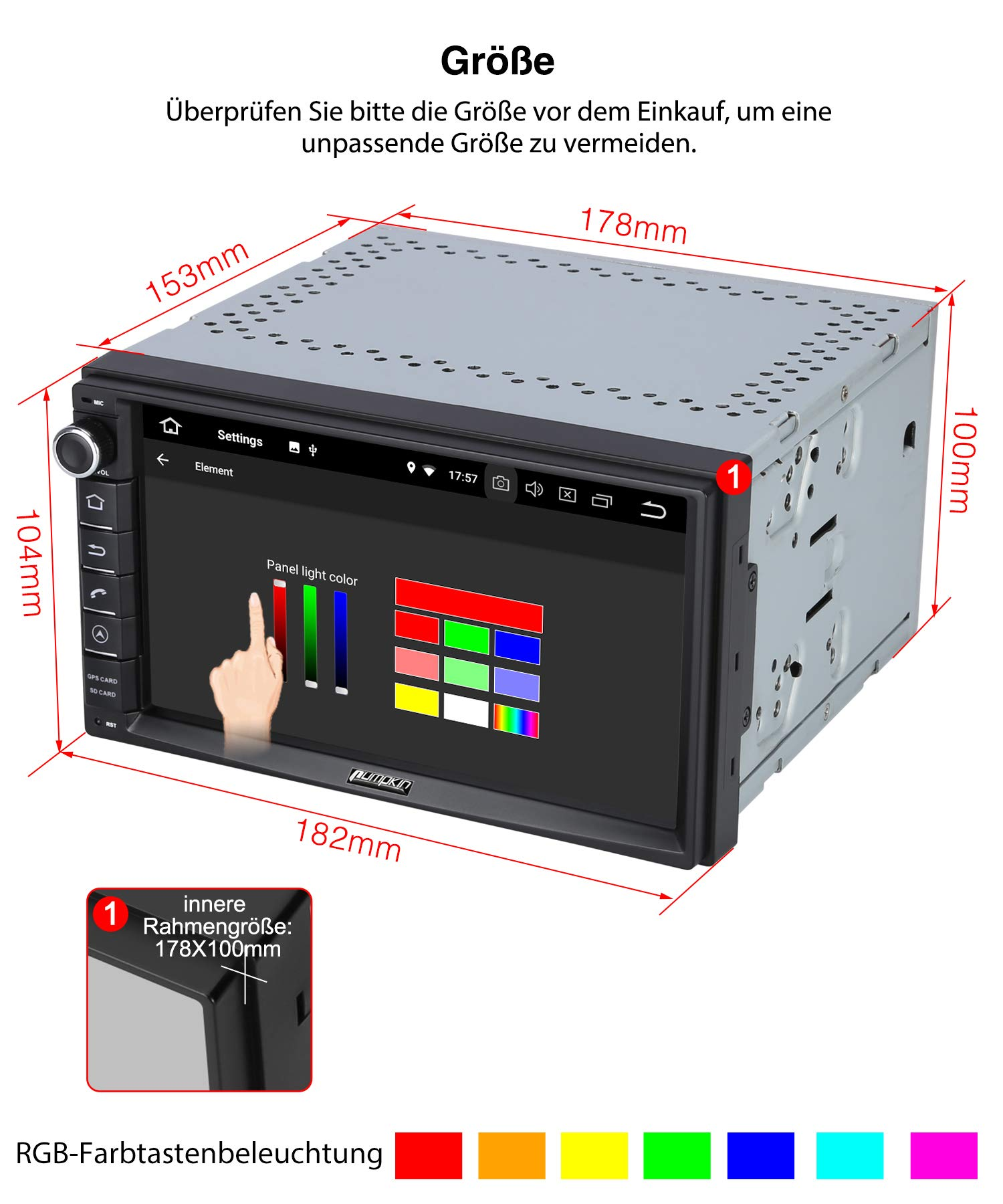 PUMPKIN-Android-90-Autoradio-Radio-mit-GPS-Navi-Untersttzt-Bluetooth-DAB-USB-Android-Auto-MicroSD-2-Din-7-Zoll-Bildschirm