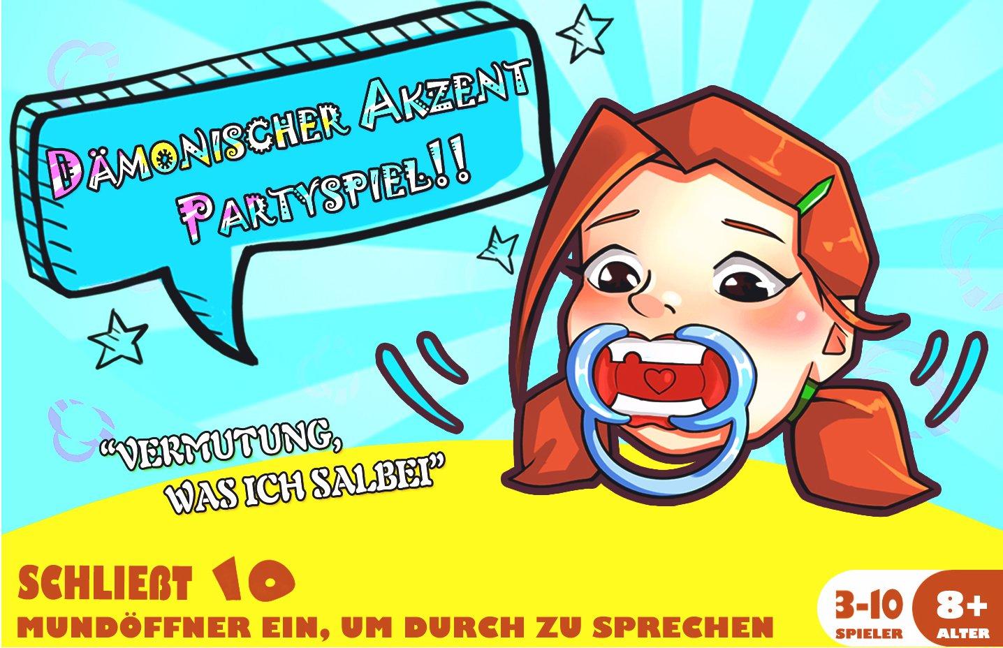 Frola-Dmonischer-Akzent-Partyspiel-Deutsche-Ausgabe-10-BPA-Free-Mundstcke-400-Witzige-Phrase-und-54-Blank-Cards-Urkomisch-Klartext-Partyspiel-Familienausgabe