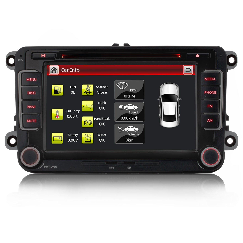 iFreGo-7-AUTORADIO-Fr-VW-Golf-56PassatTiguanPoloJettaSkoda-Fabia-OctaviaYeti-Seat-LeonTouranCandy-SharanEOS-3G-WiFi-GPS-Navigation-NAVI-USB-SD-Bluetooth-DVD-MP3HD7-LED
