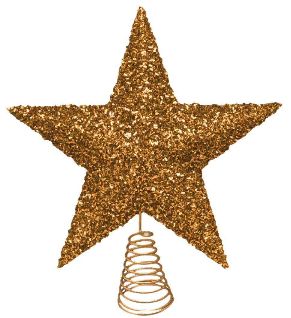 27cm-schne-Gold-Sparkly-Tinsel-Tree-Top-Star-Weihnachtsbaum-Deckel