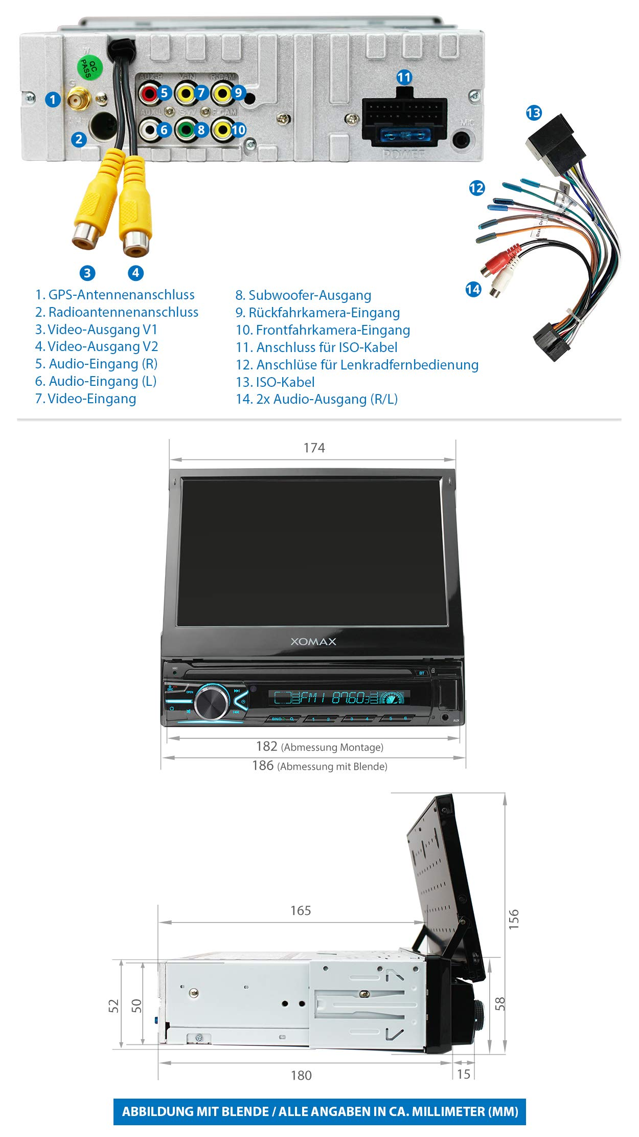 XOMAX-XM-VN745-Autoradio-mit-Mirrorlink-I-GPS-Navigation-I-Bluetooth-I-7-18-cm-Touchscreen-Bildschirm-I-RDS-USB-AUX-I-Anschlsse-fr-Rckfahrkamera-und-Lenkradfernbedienung-I-1-DIN