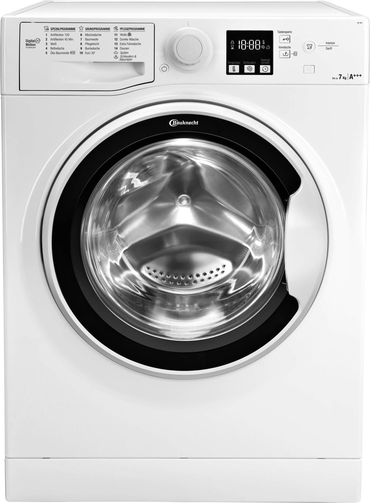 Bauknecht-AF-7F4-Waschmaschine-Frontlader-A-1400-UpM-7-kg-Wei-langlebiger-Motor-Nachlegefunktion-Wasserschutz