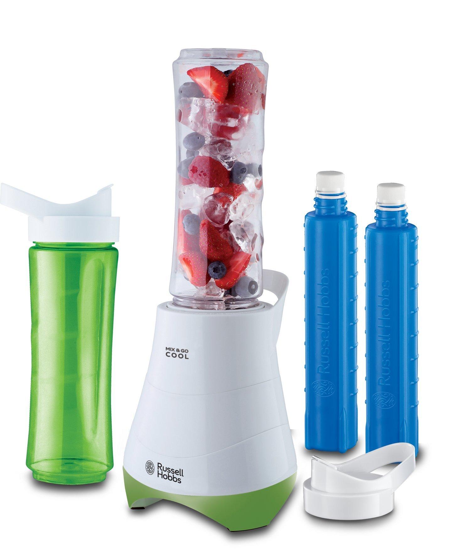 Russell-Hobbs-21350-56-StandmixerSmoothie-Maker-Mix-Go-Cool-inkl-2-Trinkflaschen-mit-Khlakku-600ml-300-Watt-weigrn