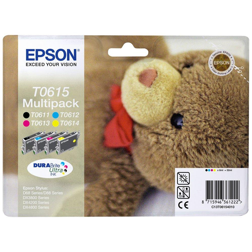Epson-Original-T0615-Teddybr-wisch-und-wasserfeste-Tinte-Multipack-4-farbig-CYMK