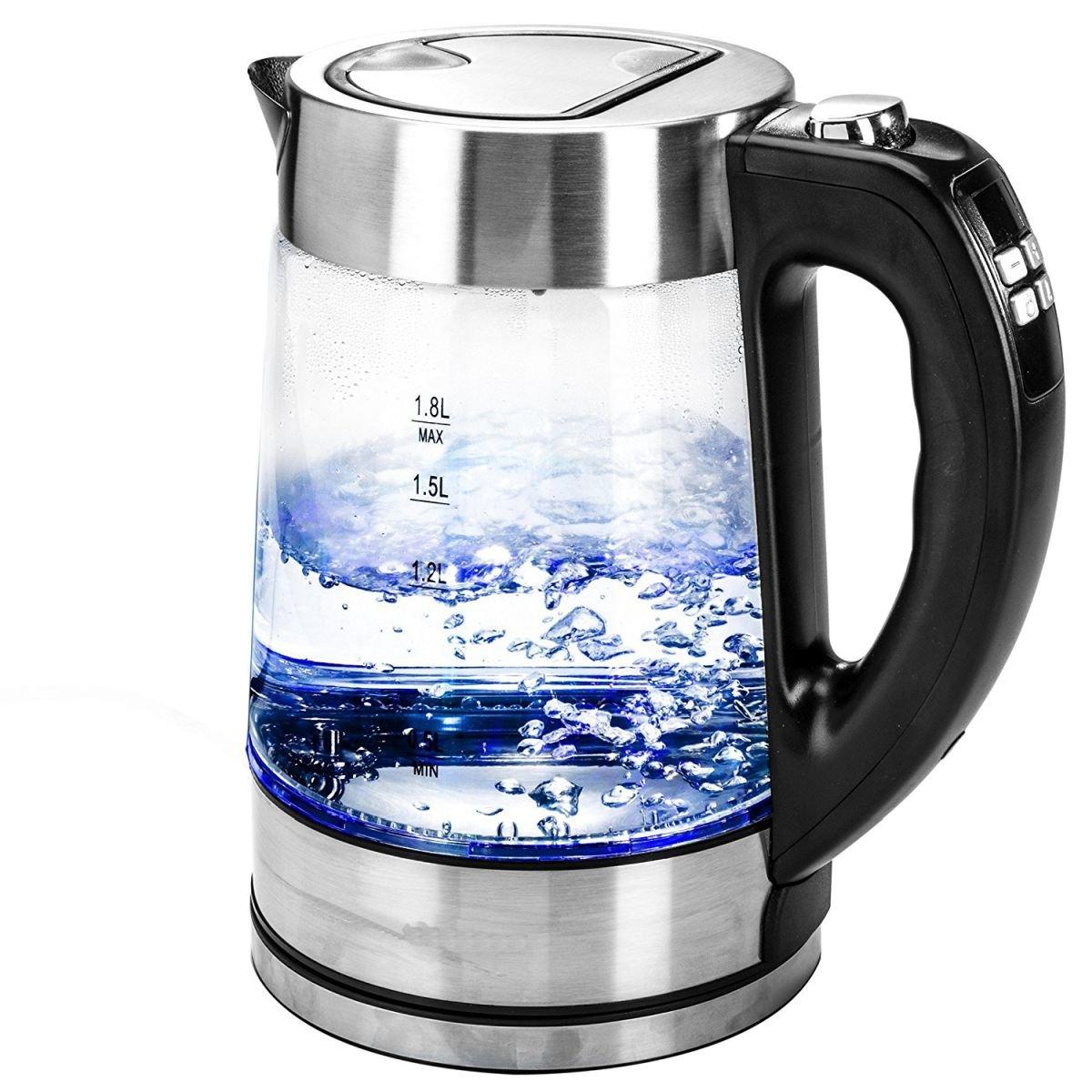 Glas-Wasserkocher-18Liter-elektronische-Temperatureinstellung-LED-Anzeige-Kabellos-Edelstahl-2200W