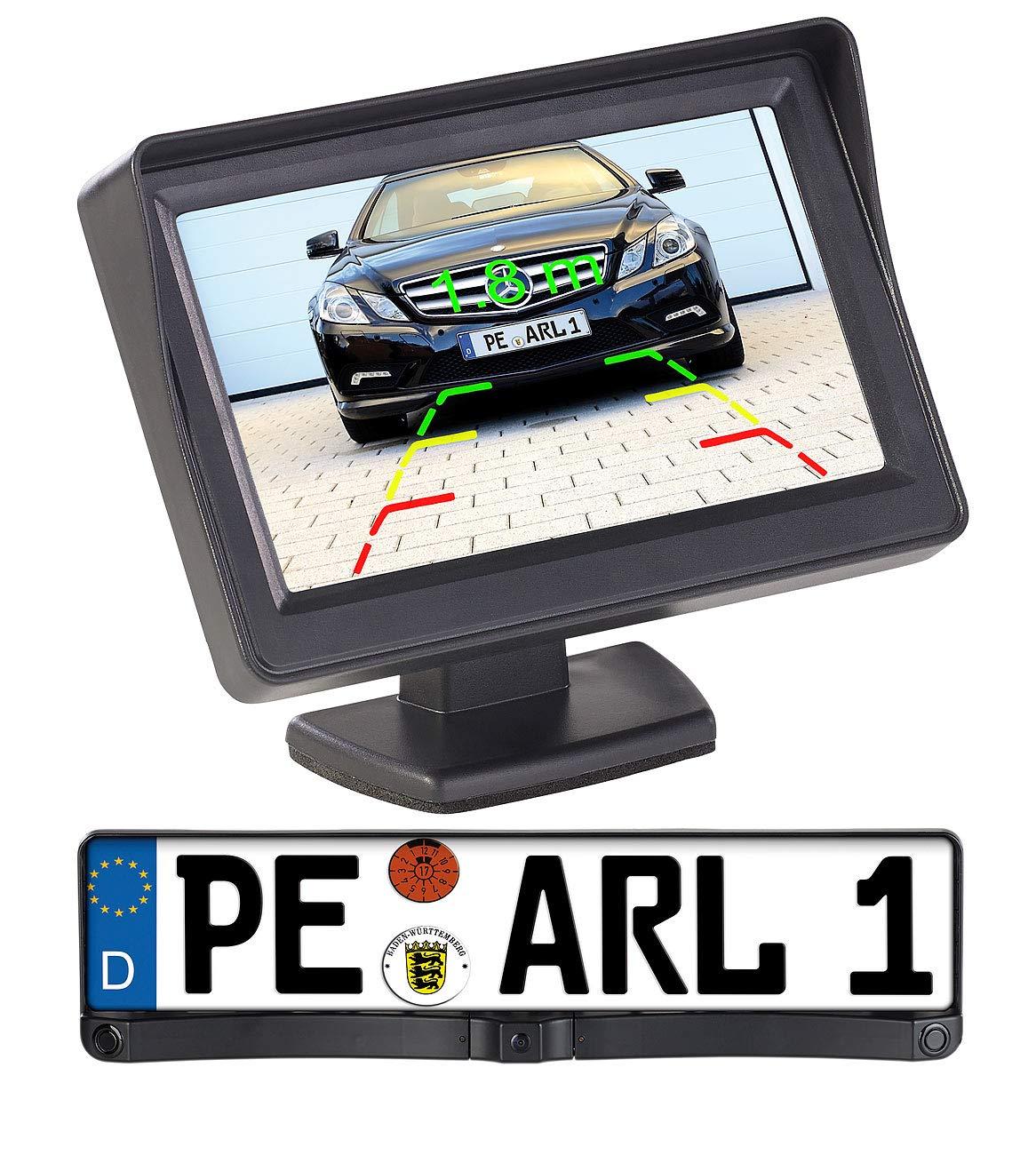 Lescars-Rckfahrkameras-Funk-Rckfahrkamera-in-Nummernschildhalter-m-Monitor-Abstandswarner-Funk-Rckfahrkameras-mit-Monitoren