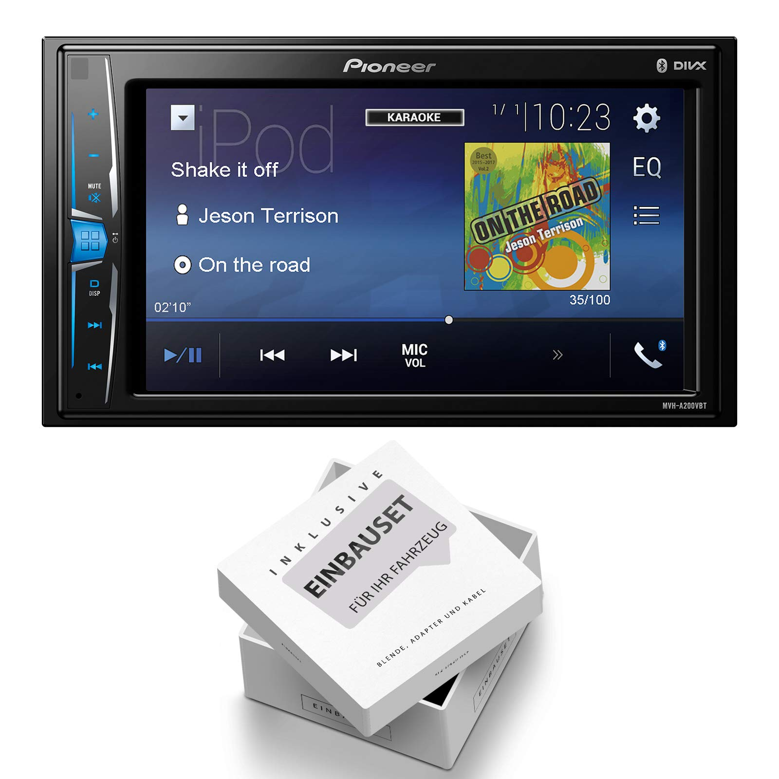 Pioneer-Radio-MVH-A200VBT-2DIN-Bluetooth-mit-Einbauset-fr-Opel-Corsa-D-2006-2014-Stealth-Black