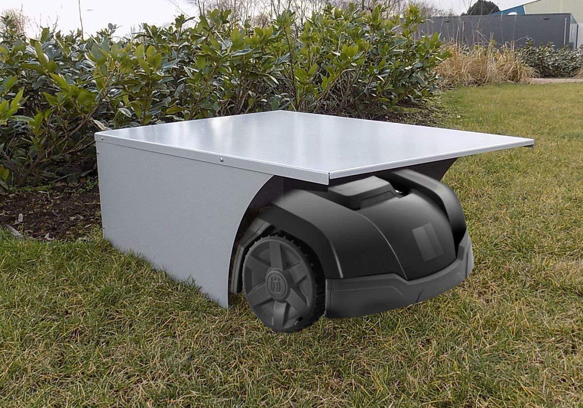Garage-fr-Rasenroboter-Rasenmher-Dach-Automower-Mhroboter-Roboter-SilbergrauLnge-90cm-Breite-65cm-Hhe-34cm