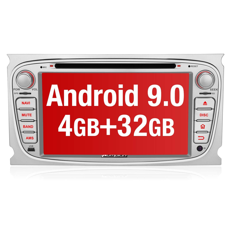 PUMPKIN-Android-90-Autoradio-Radio-fr-Ford-Focus-Mondeo-mit-Navi-4GB-8-Core-Untersttzt-Bluetooth-DAB-CD-DVD-WiFi-4G-Android-Auto-USB-MicroSD-2-Din-7-Zoll-Bildschirm-Silber