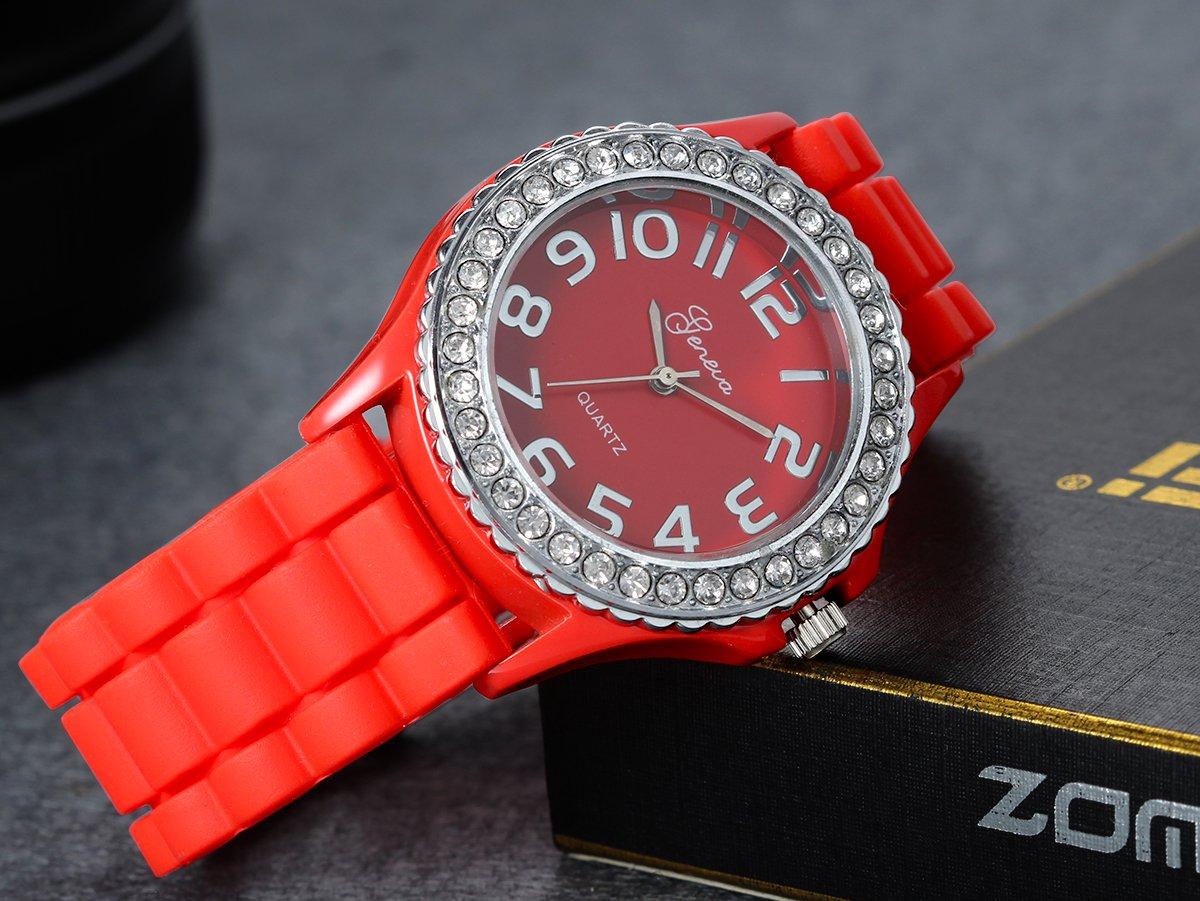 Lancardo-Mdchen-Damen-Armbanduhr-elegant-Quarz-modisch-silikon-Uhr-mit-Strass-Zifferblatt-orange