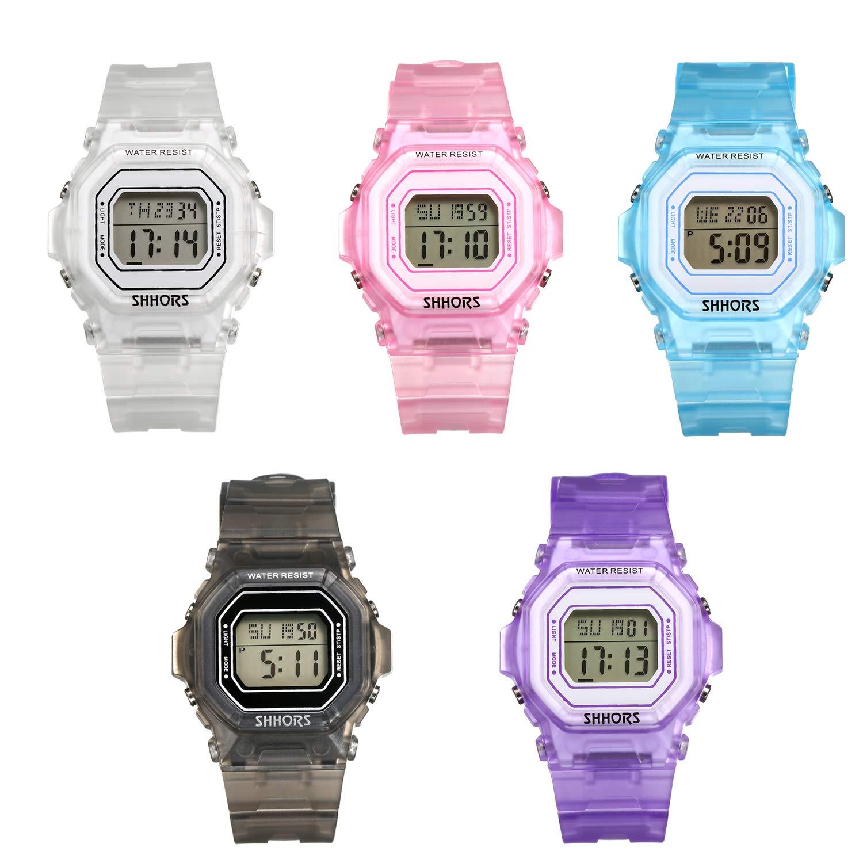 LANCARDO-Sportuhr-Chronograph-Dial-helle-Digital-Multifunktion-Alarm-Armband-Armband-Einstellbare-Kunststoff-fr-Sport-Outdoor-Geschenk-Weihnachten-Herren-Damen-Paar