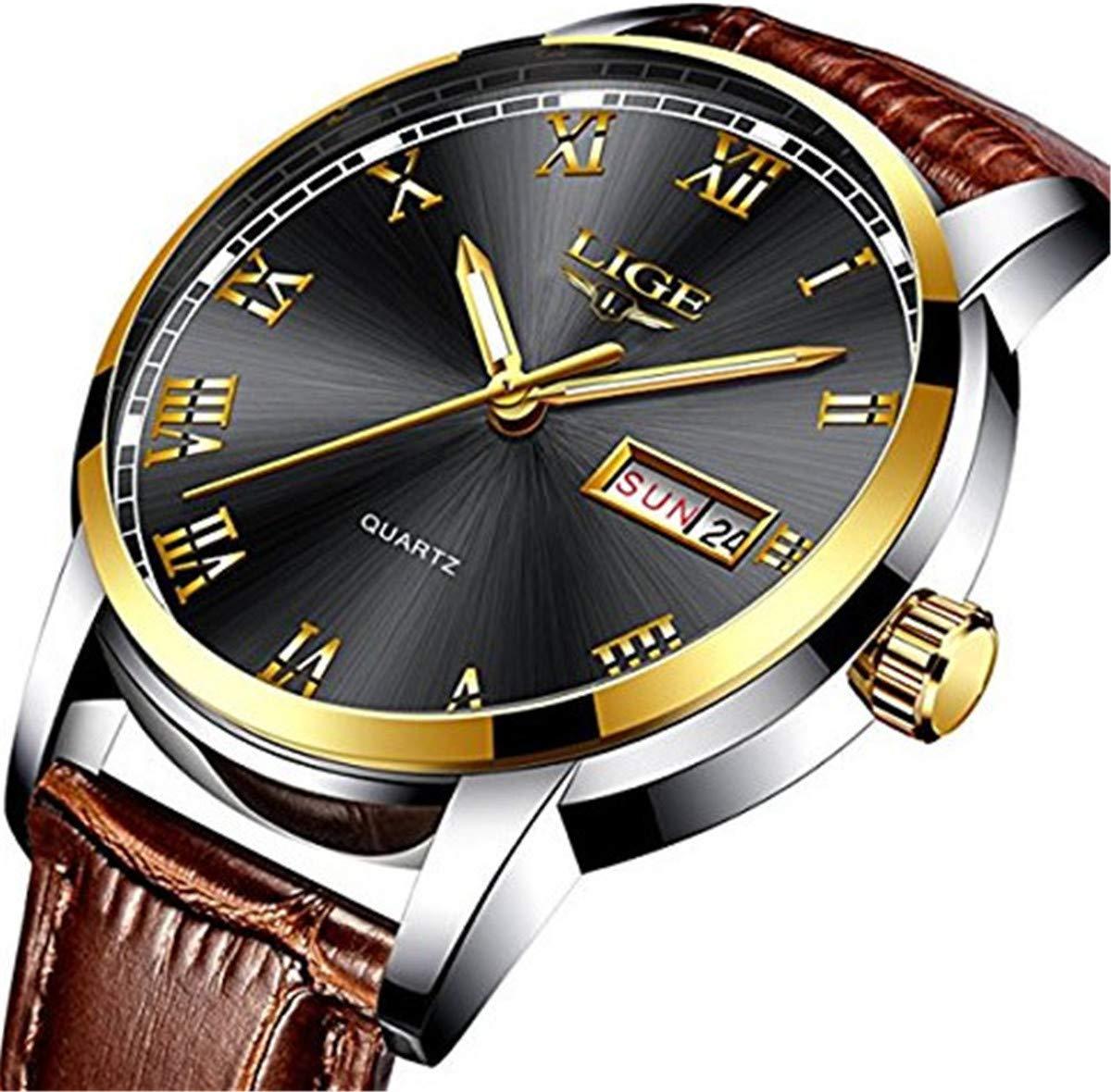 Herren-Schwarz-Uhren-wasserdicht-30-m-Datum-Kalender-Armbanduhr-fr-Mnner-Teenager-Jungen-Leder-Band-Fashion-Casual-Luxus-Business-Herren-Sport-Uhren