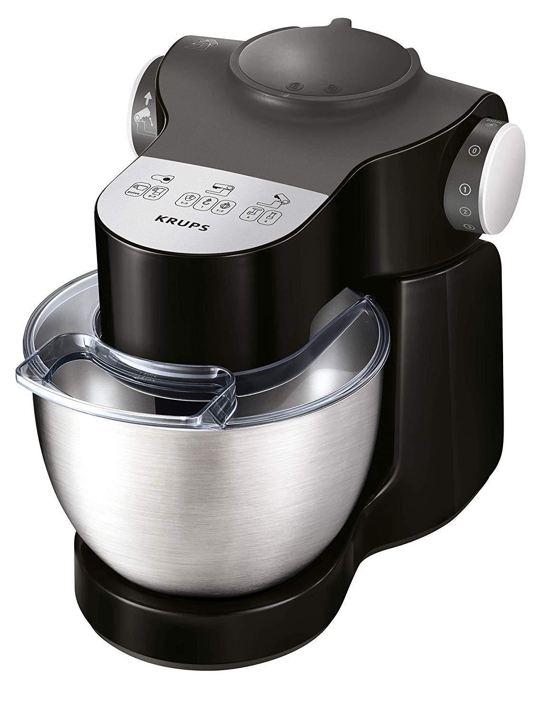 Krups-KA3198-Master-Perfect-Plus-Kchenmaschine-1000-Watt-7-Geschwindigkeiten-Pulse-4-l-Schssel-Back-Set-Schnitzelwerk-Mixaufsatz-Fleischwolf-Zerkleinerer-schwarz