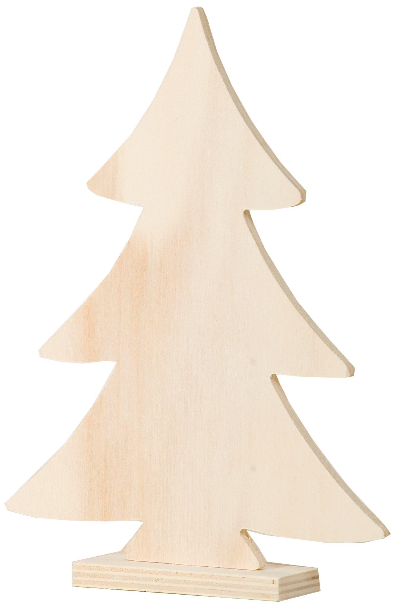 Artemio-20-cm-Holz-Weihnachten-Baum-auf-Fu-beige