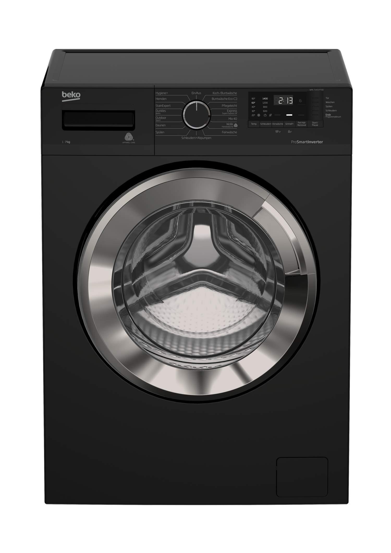 Beko-WML-71433-PTEB-Waschmaschine-Frontlader-A-1400UpM-Pet-Hair-Removal-ProSmart-Inverter-Motor-Schwarz