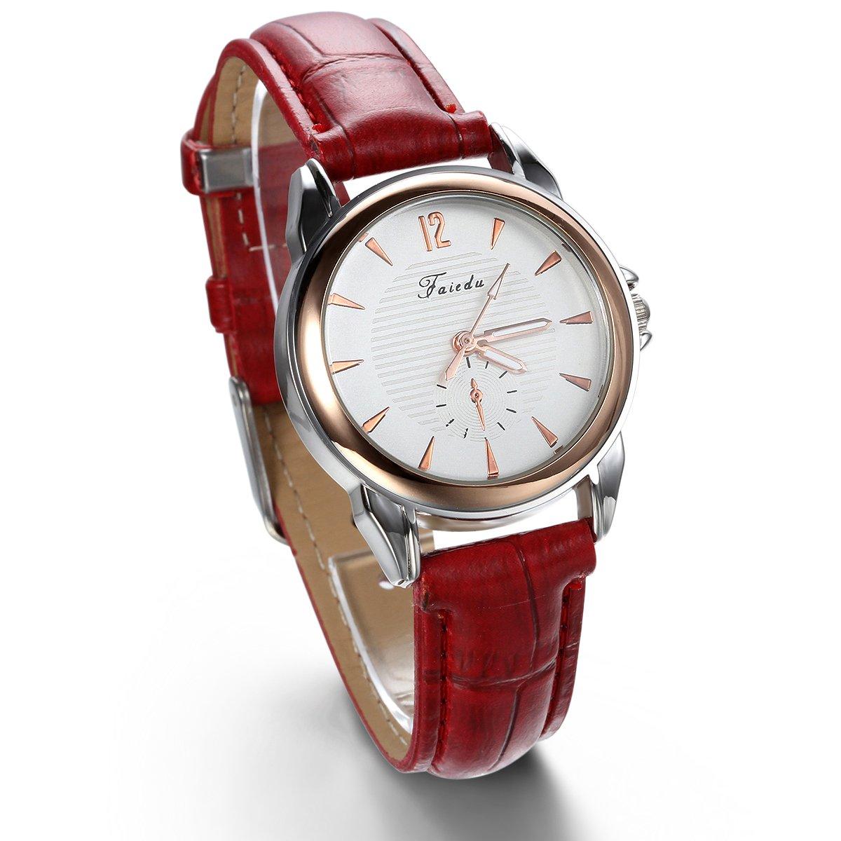 JewelryWe-Damen-Armbanduhr-Analog-Quarz-Klassische-Business-Casual-Uhr-mit-Leder-Armband-Rot