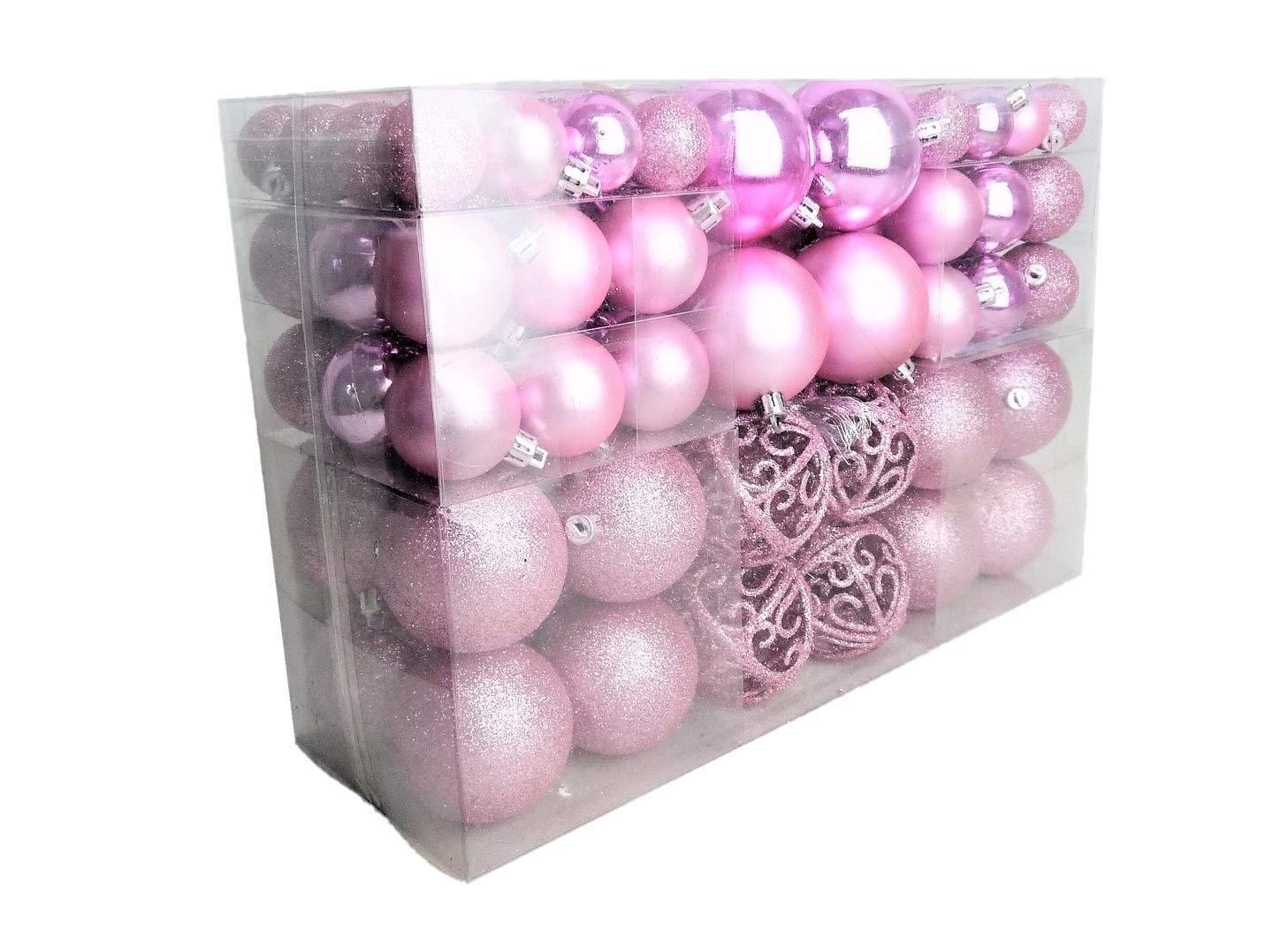100-Weihnachtskugel-Rosa-glnzend-glitzernd-matt-Christbaumschmuck-bis–6-cm-Baumschmuck-Weihnachten-Deko-Anhnger