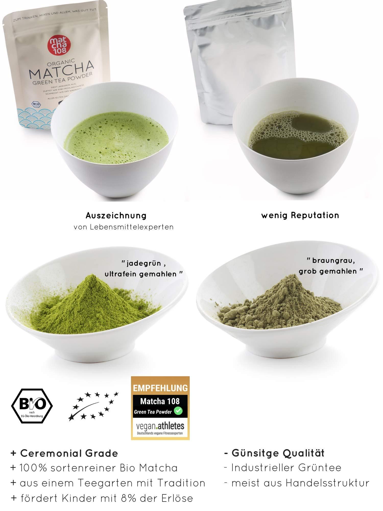 Matcha-Tee-Pulver-108–Bio-Zeremonie-Qualitt-fr-extra-milden-Teegenuss–Ideal-auch-fr-Smoothies-und-Lattes–Zertifiziertes-Grntee-Pulver-108g-Ceremonial-Grade-Green-Tea
