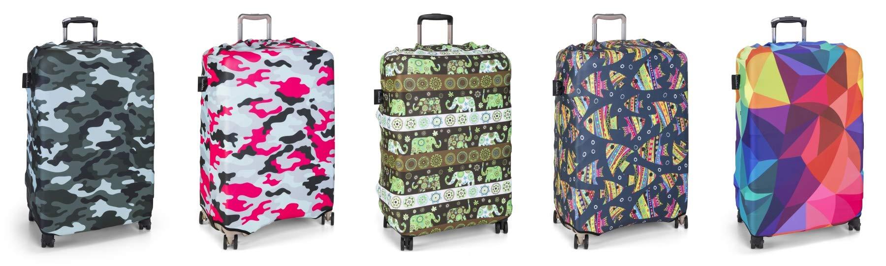 LuxuryforTravel-elastische-Kofferschutzhlle-Dicke-Kofferhlle-mit-Reiverschluss-Kofferberzug-Kofferschutz-Kofferbezug-Reisekofferabdeckung-Koffer-Cover-Schutz-auffallend-Gre-S-M-L-XL