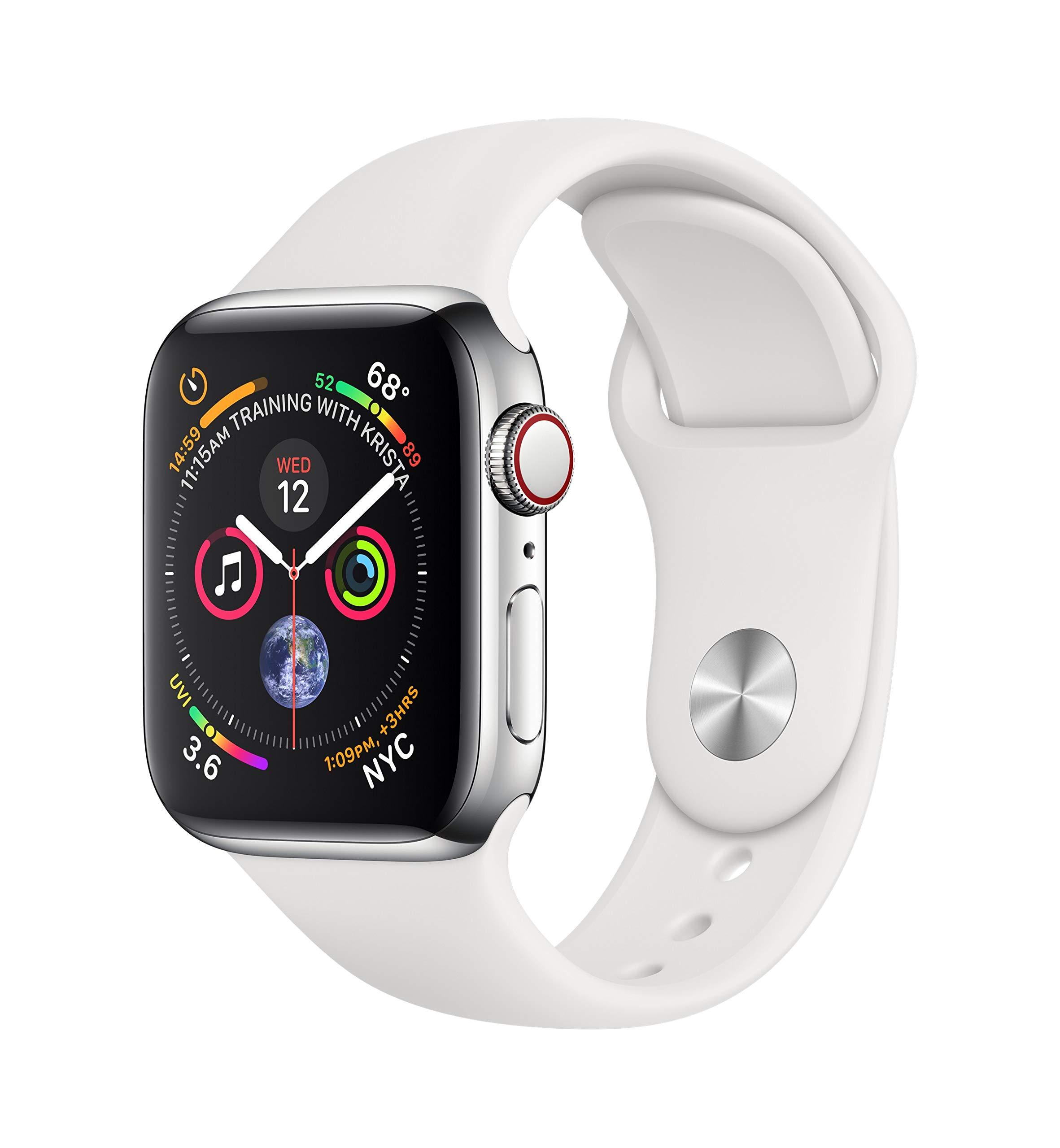 Apple-Watch-Series-4-GPS-Cellular-40-mm-Edelstahlgehuse-mit-Sportarmband-Wei