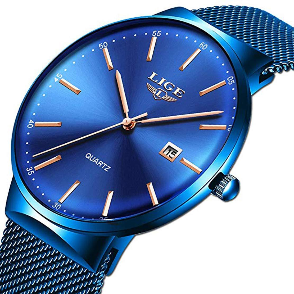 Uhren-Herren-Mode-Wasserdichte-Edelstahl-Herrenuhr-Analoge-Quarz-Armbanduhr-Luxusmarke-LIGE-Uhr-Blau-Kleid-Kalender-Uhr-Mesh-Band