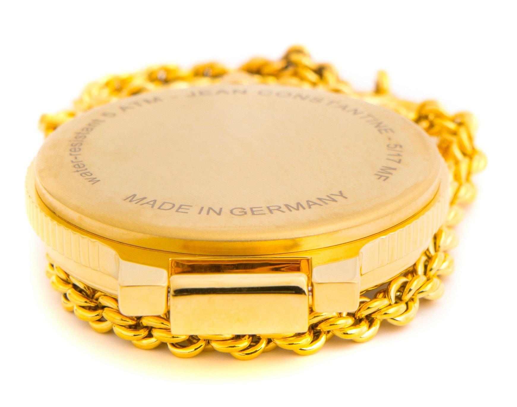 Jean-Constantine-Herren-Taschenuhr-mit-Lupe-Analog-Ronda-Uhr-Werk-Gold