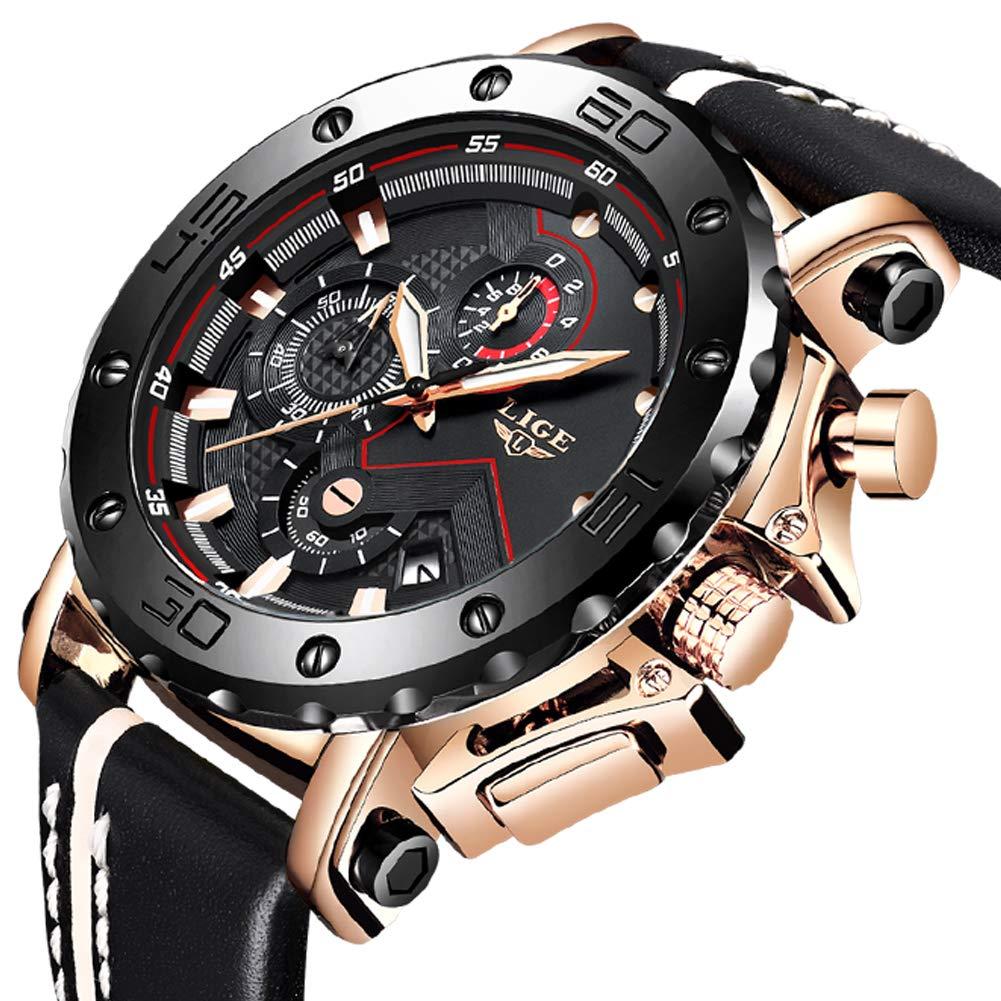 LIGE-Herren-Uhren-Sport-wasserdichte-Analog-Quarz-Uhr-Mnner-Gold-schwarz-Edelstahl-Chronograph-Militr-Leder-Armbanduhr