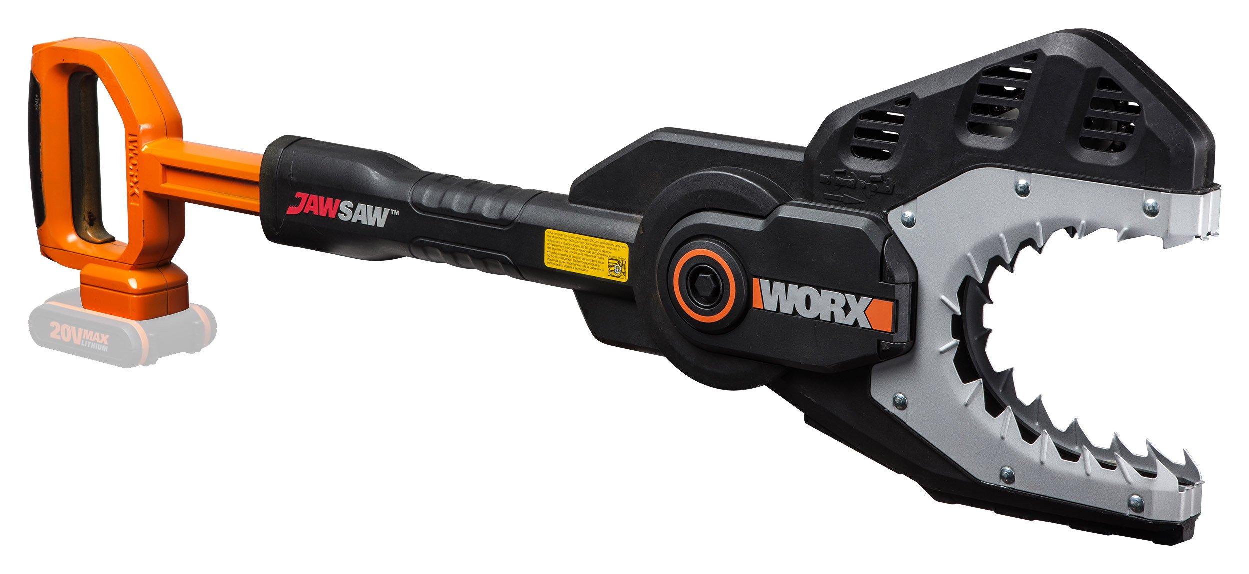 WORX-WG329E9-Kettensge-Jawsawfr-sicheres-Sgen-von-sten-auf-dem-Boden-oder-hoch-gelegen-Astsge-mit-umschlossener-Kette-Stahlzhnen-Kettenschutz-Ohne-Akku-Ladegert
