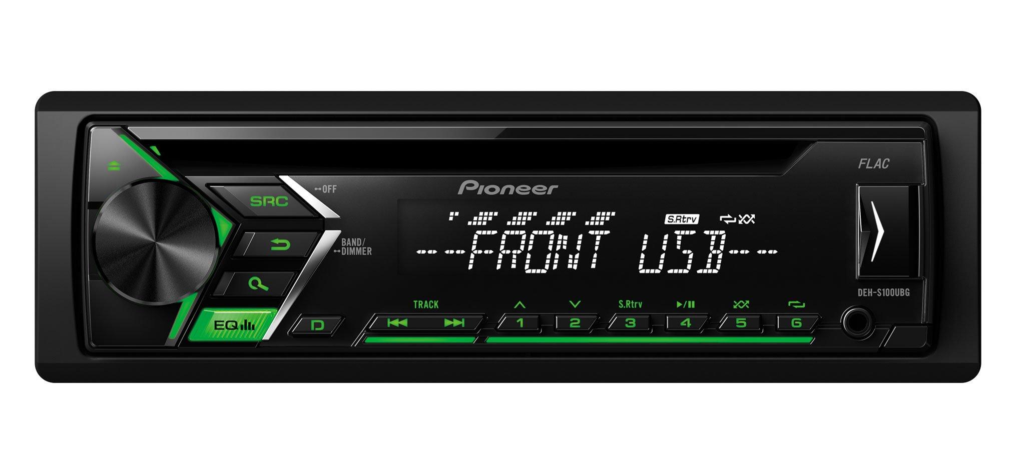 Pioneer-DEH-S100UBG-Autoradio-USB-CD-Receiver-Kfz-Radio-mit-Front-AUX-In-Wiedergabe-von-MP3-WMA-WAV-FLAC-ber-MOS-FET-4X-50W-High-Level-Car-HiFi-schwarz
