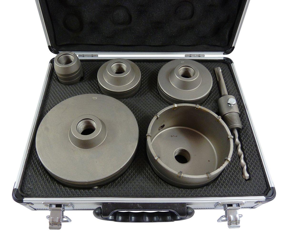 1x-Set-Bohrkrone-Hartmetall-HM-40-65-80-100-125mm-6-teilig-mit-SDS-Plus-Aufnahme-und-Zentrierspitze-im-Koffer-TOP