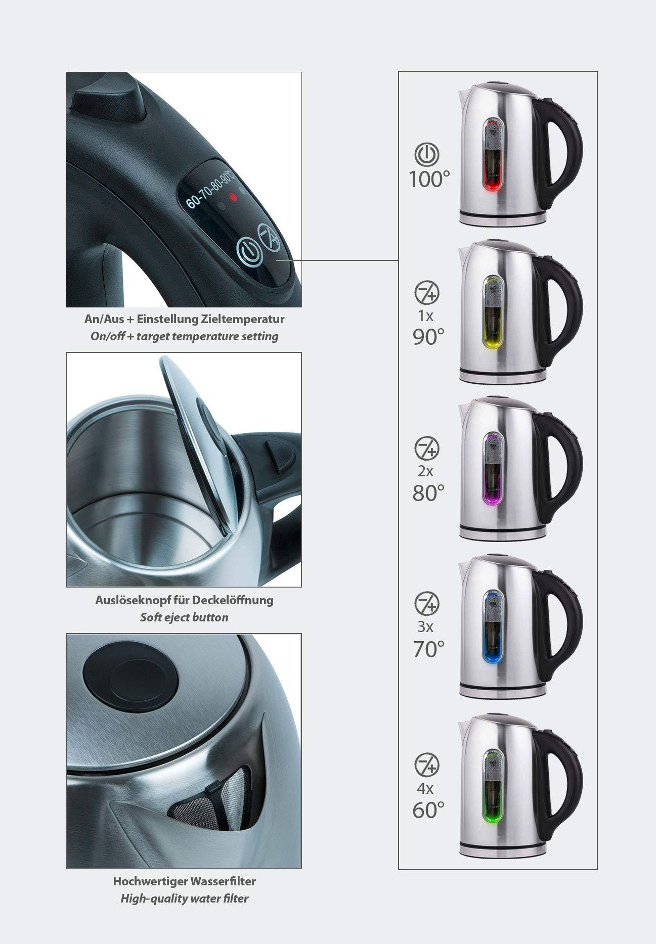 T24-Edelstahl-Wasserkocher-17-L-mit-Temperatureinstellung-2200W-LED-Beleuchtung-Farbe-je-nach-Temperaturwahl-2-Std-Warmhaltefunktion-Kalk-Filter