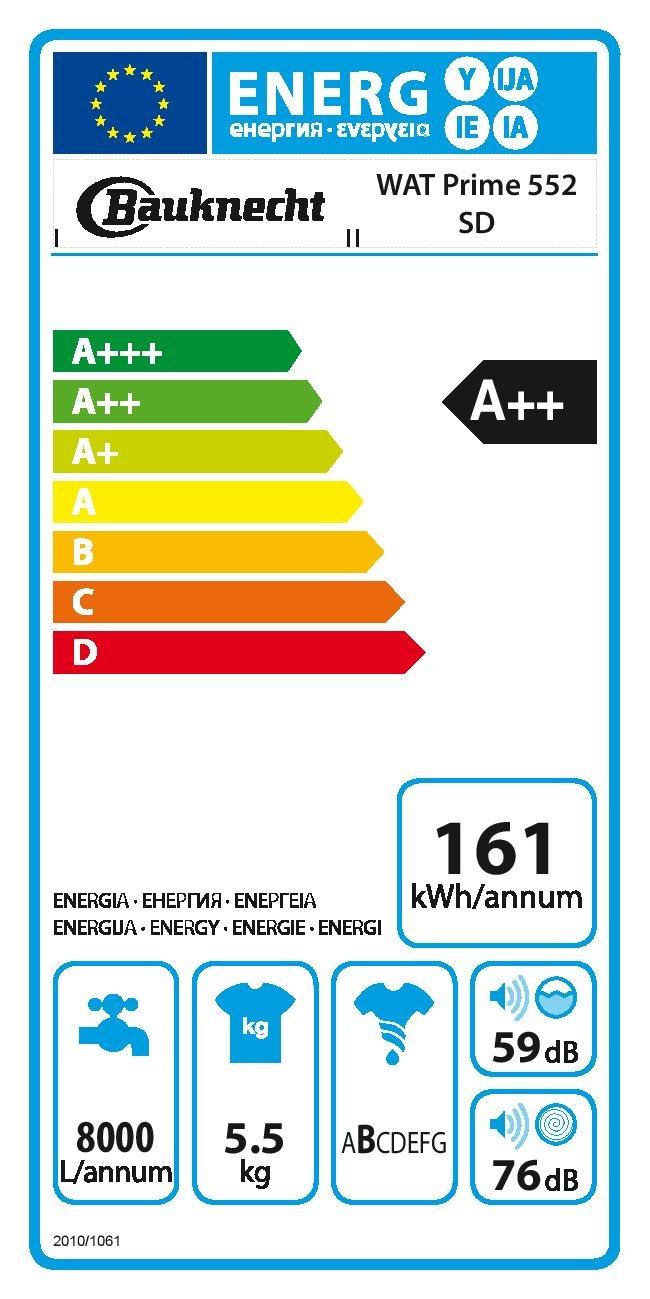 Bauknecht WAT Prime 552 SD, Waschmaschine weiß