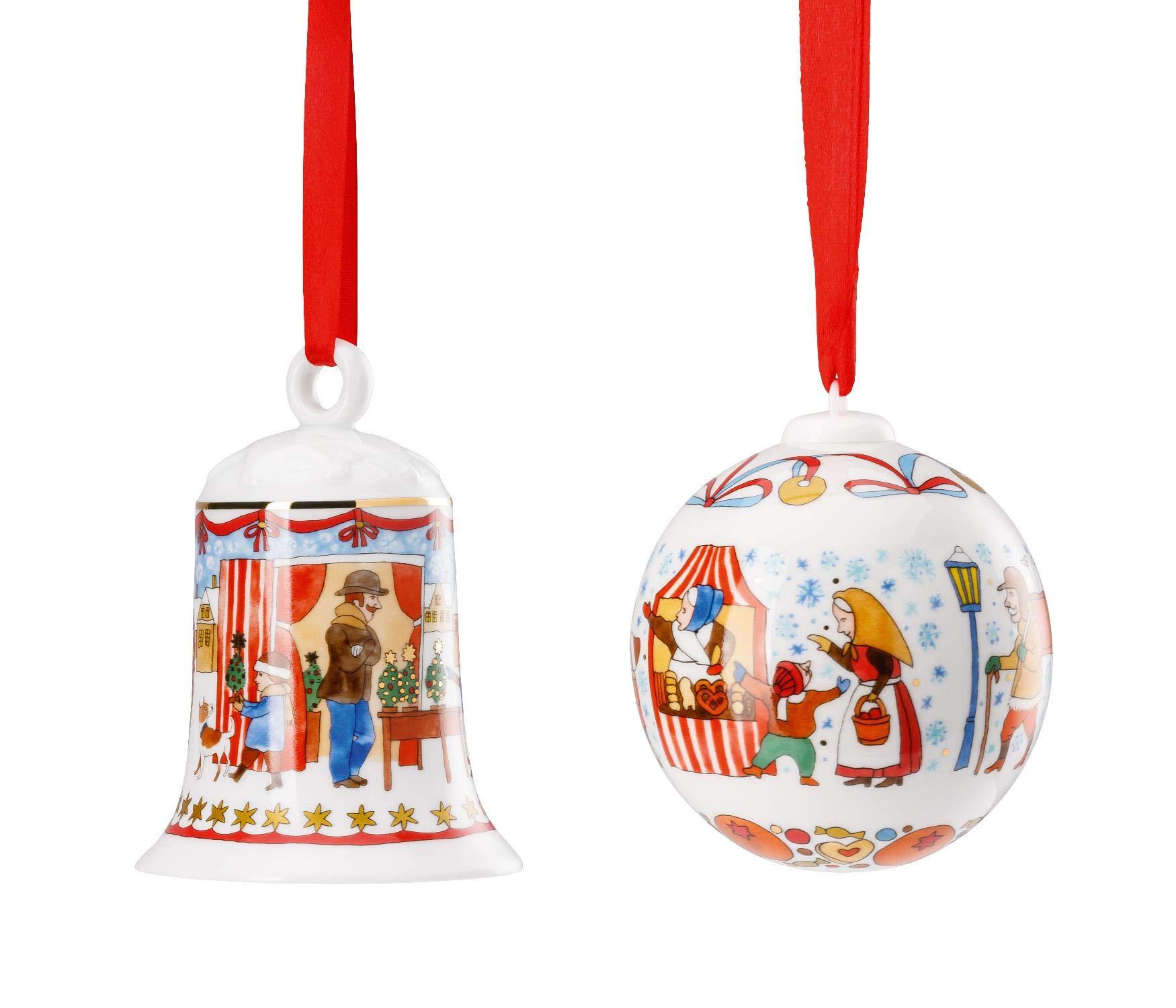 Hutschenreuther-2019-Porzellan-Glocke-Kugel-2019-Motiv-Weihnachtsmarkt-in-Originalverpackung-OVP