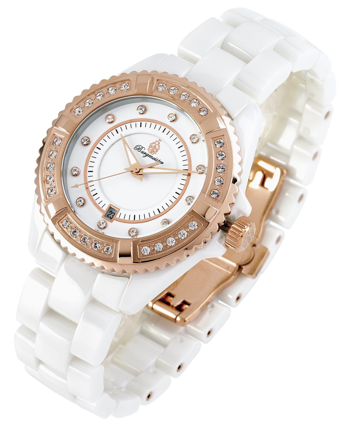 Burgmeister-Armbanduhr-fr-Damen-mit-Analog-Anzeige-Quarz-Uhr-mit-Keramik-Armband-Wasserdichte-Damenuhr-mit-zeitlosem-schickem-Design-klassische-elegante-Uhr-fr-Frauen-BM151-586-Athen