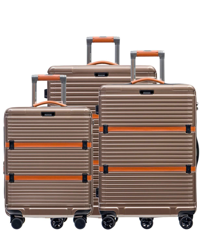 PUCCINI-Premium-Hartschale-Koffer-Oxford-2018-aus-Polycarbonat–TSA-Zahlenschloss-Leder-Namenschild-4-Rollen-Reisekoffer-SLXLSet–Handgepck-Trolley-Bordgepck-Kabinentrolley