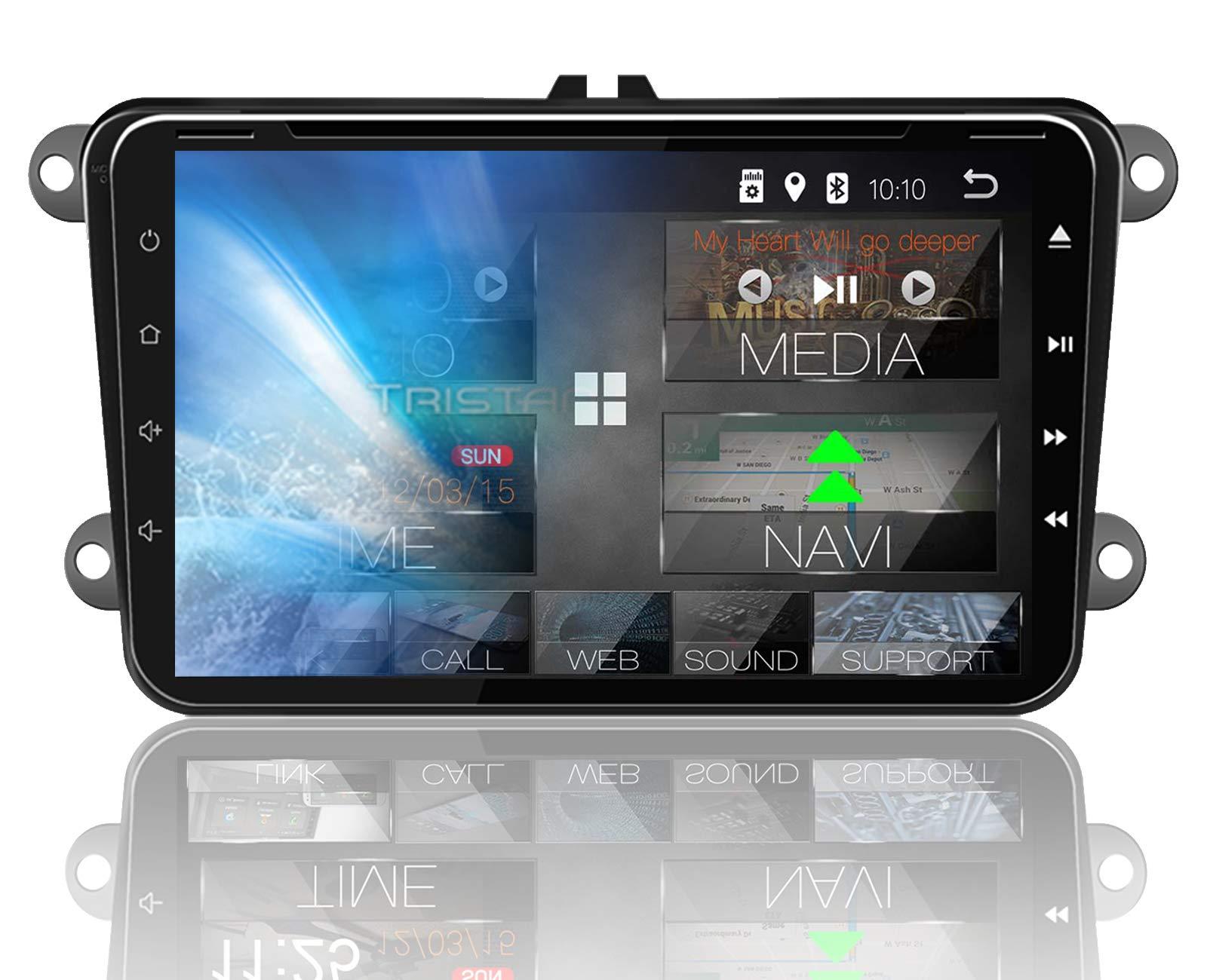 Tristan-Auron-BT2D7023VW-Autoradio-Android-81-7-Touchscreen-Bildschirm-GPS-Navi-Bluetooth-Freisprecheinrichtung-Quad-Core-USBSD-OBD-2-DAB-2-DIN-I-VW-Seat-Skoda