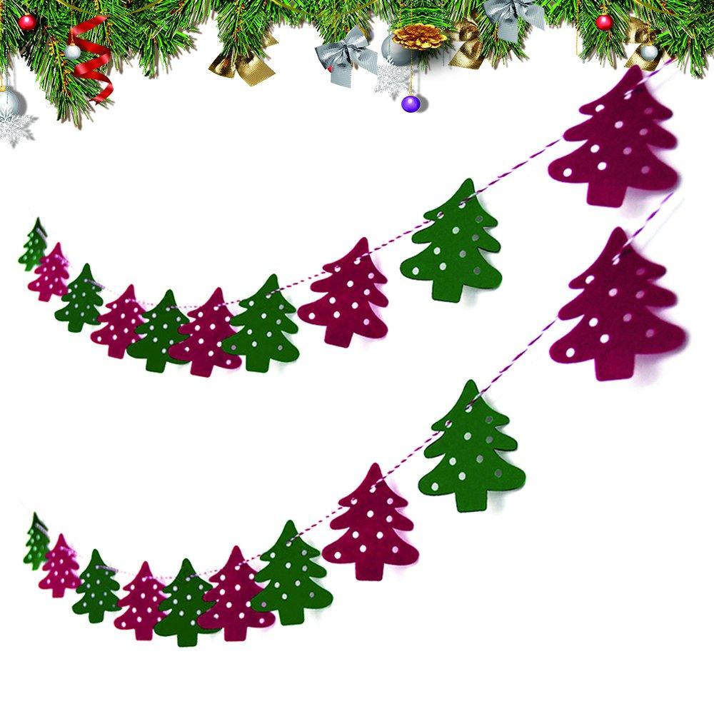 2M-Weihnachtsdeko-Girlande-Weihnachtsgirlande-Frohe-Weihnachten-Filz-Fenster-Filzgirlande-Banner-Bunting-Kette