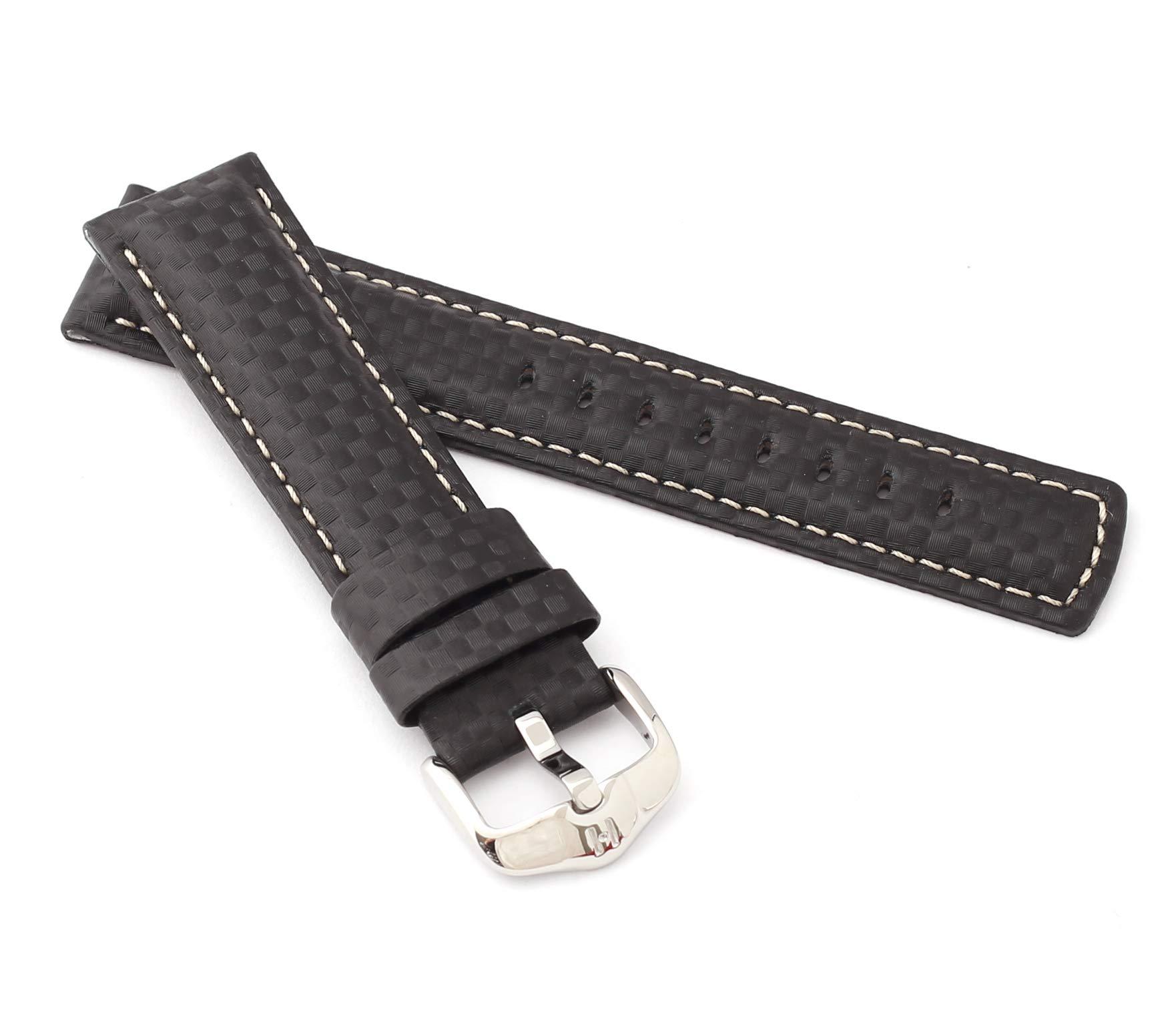 HIRSCH-XL-Herren-Uhrenarmband-Karbon-Style-Modell-Carbon-20-mm