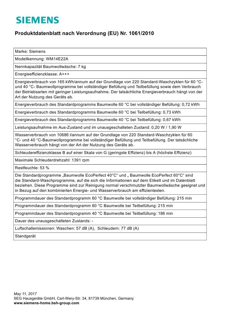 Siemens-iQ300-WM14E22A-Waschmaschine-700-kg-A-165-kWh-1400-Umin-Schnellwaschprogramm-Nachlegefunktion-15-Minuten-Waschprogramm