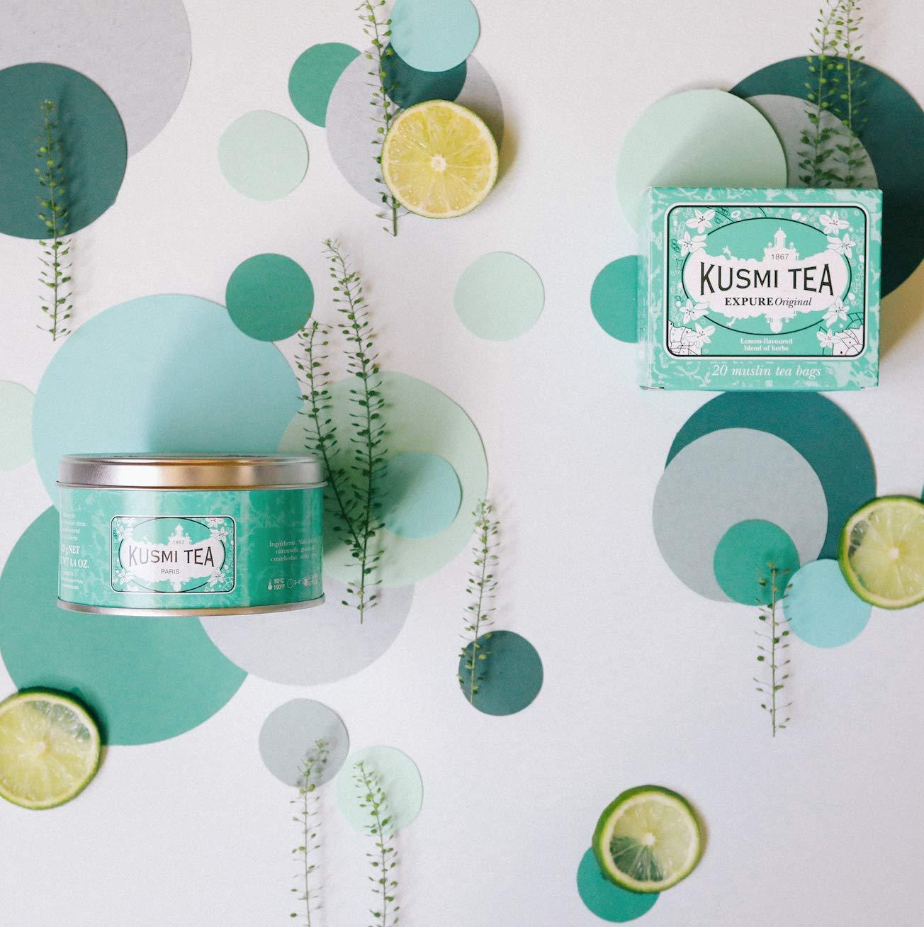 Kusmi-Tea-Wellness-Tee-Expure-Original-Mischung-mit-Mate-grnem-Tee-und-Zitronengras-aromatisiert-Zitrone-Die-exklusive-Mischung-wird-in-Frankreich-Metalldose-125g-Ergibt-ca-50-Tassen