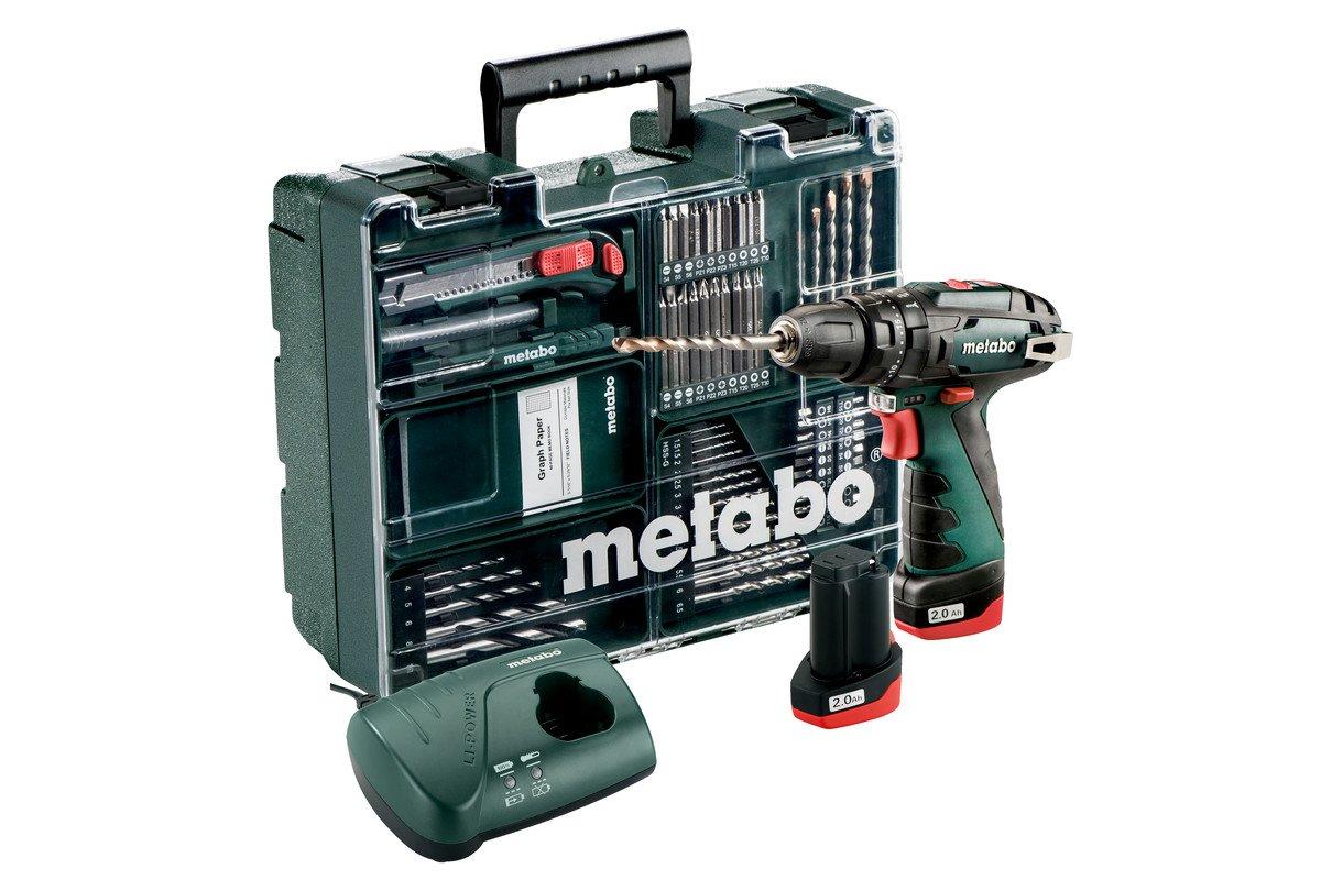 Metabo-600385870-POWERMAXX-SB-Basic-Set-600385870-Akku-Schlagbohrmaschine-I-mit-Ladegert-LC40-und-Kunststoffkoffer-I-2X108V2AH-LI-Ion-Akku