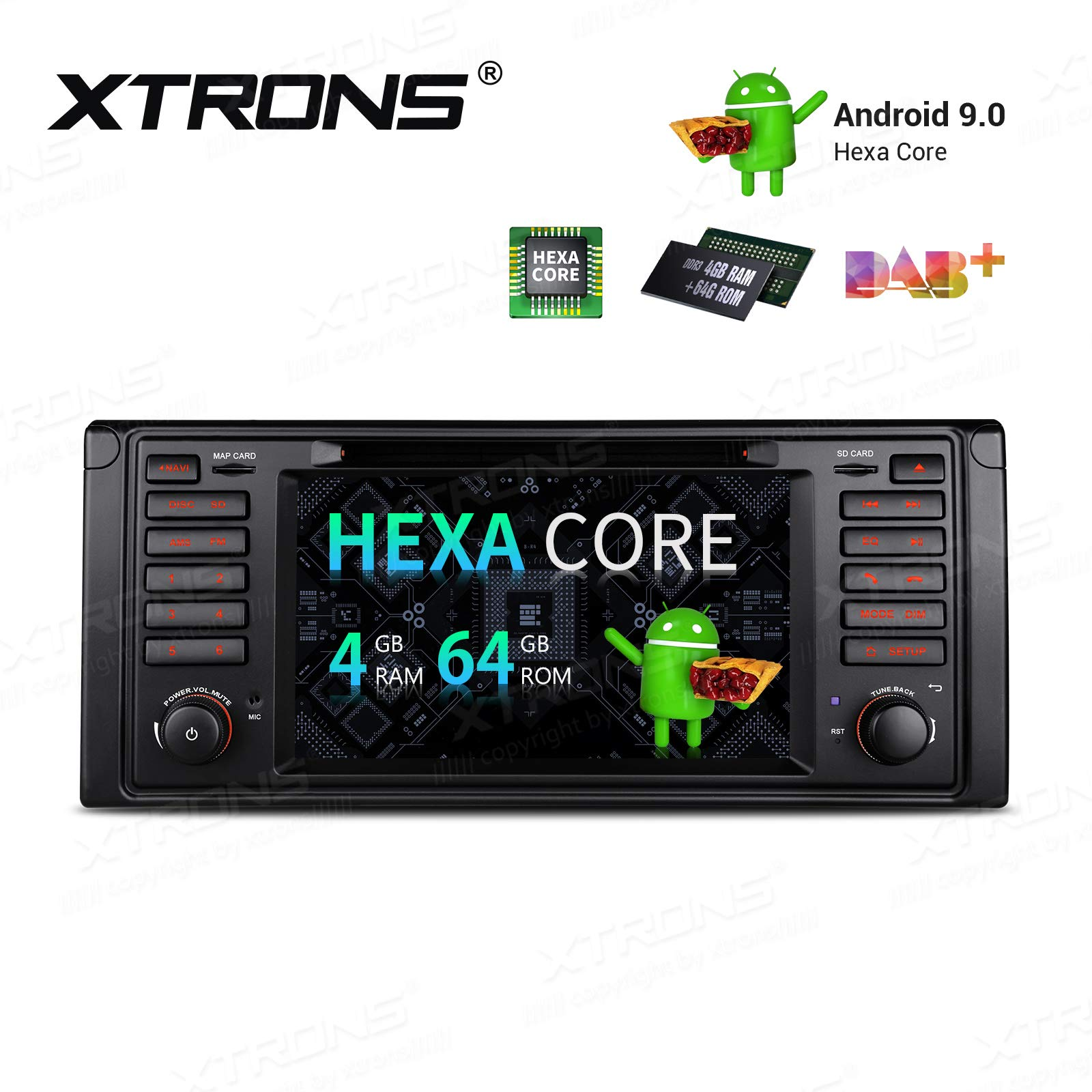XTRONS-7-6-Core-Android-Autoradio-mit-Touchscreen-Auto-DVD-Player-Android-90-Hexa-Core-Autostereo-untersttzt-HDMI-Ausgang-4G-Bluetooth-4GB-RAM-64GB-ROM-DAB-OBD2-TPMS-FR-BMW-E39-5-Serien