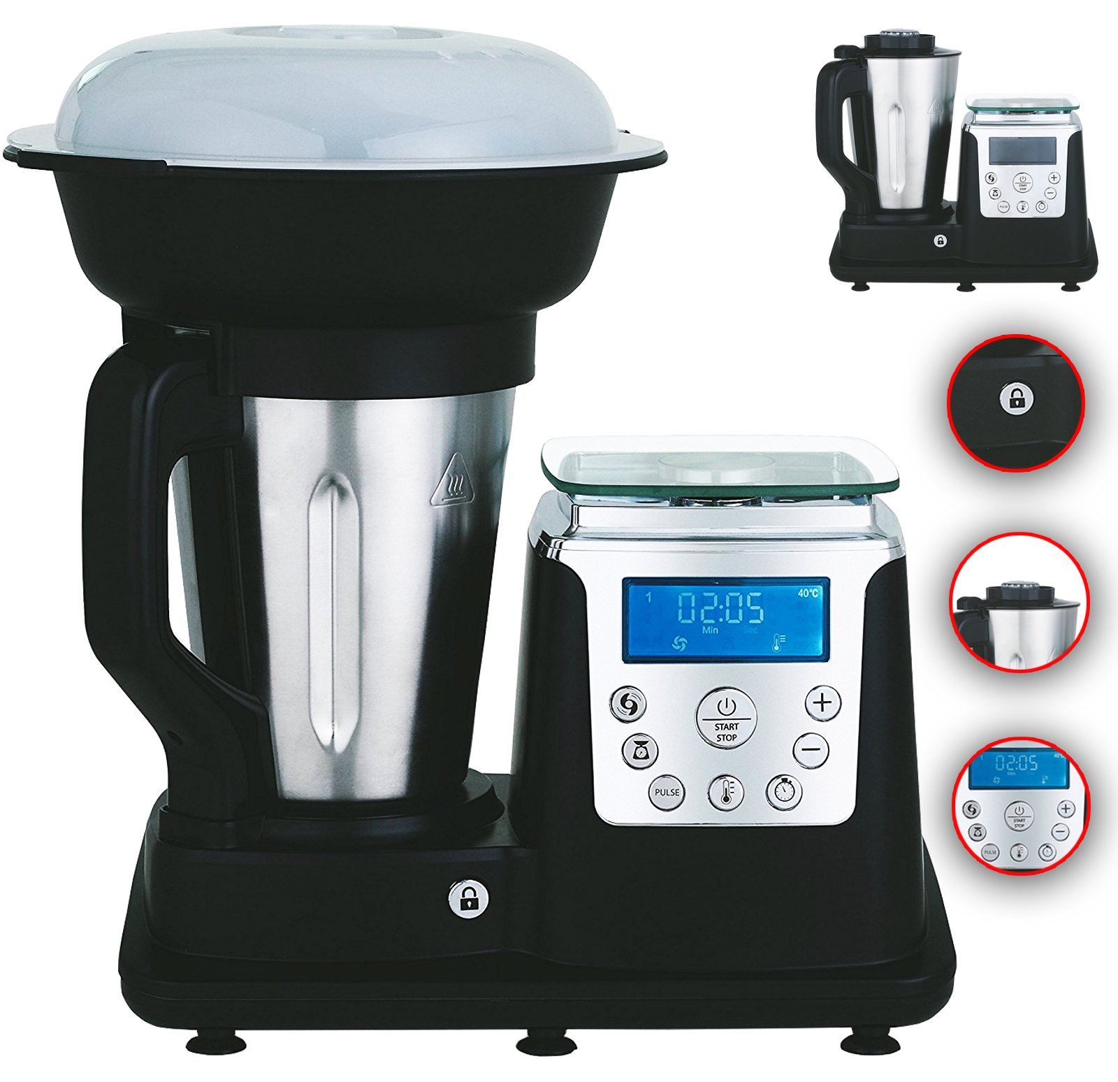10-in-1-Thermo-Multikocher-Kchenmaschine-mit-KochfunktionTemperatur-1350-Watt-17-Liter-Kochen-Mixen-Dampfgaren-Multifunktions-Kchenmaschine-Zerkleiner-Thermo-Koch-Mix-Maschine