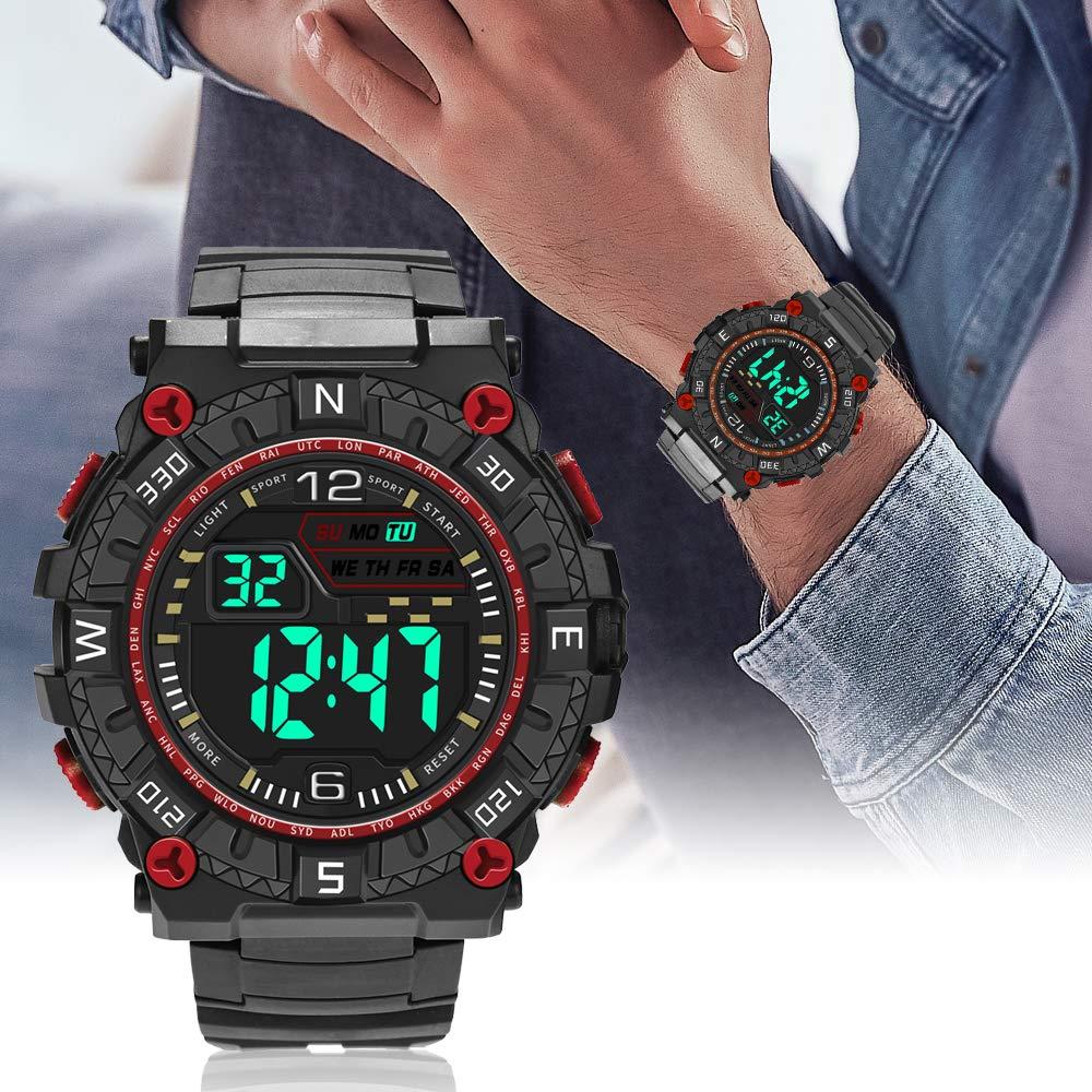 Godagoda-Herren-Armbanduhr-Digitaluhr-Lederarmband-Leuchtende-Elektronische-Outdoor-Sportuhr