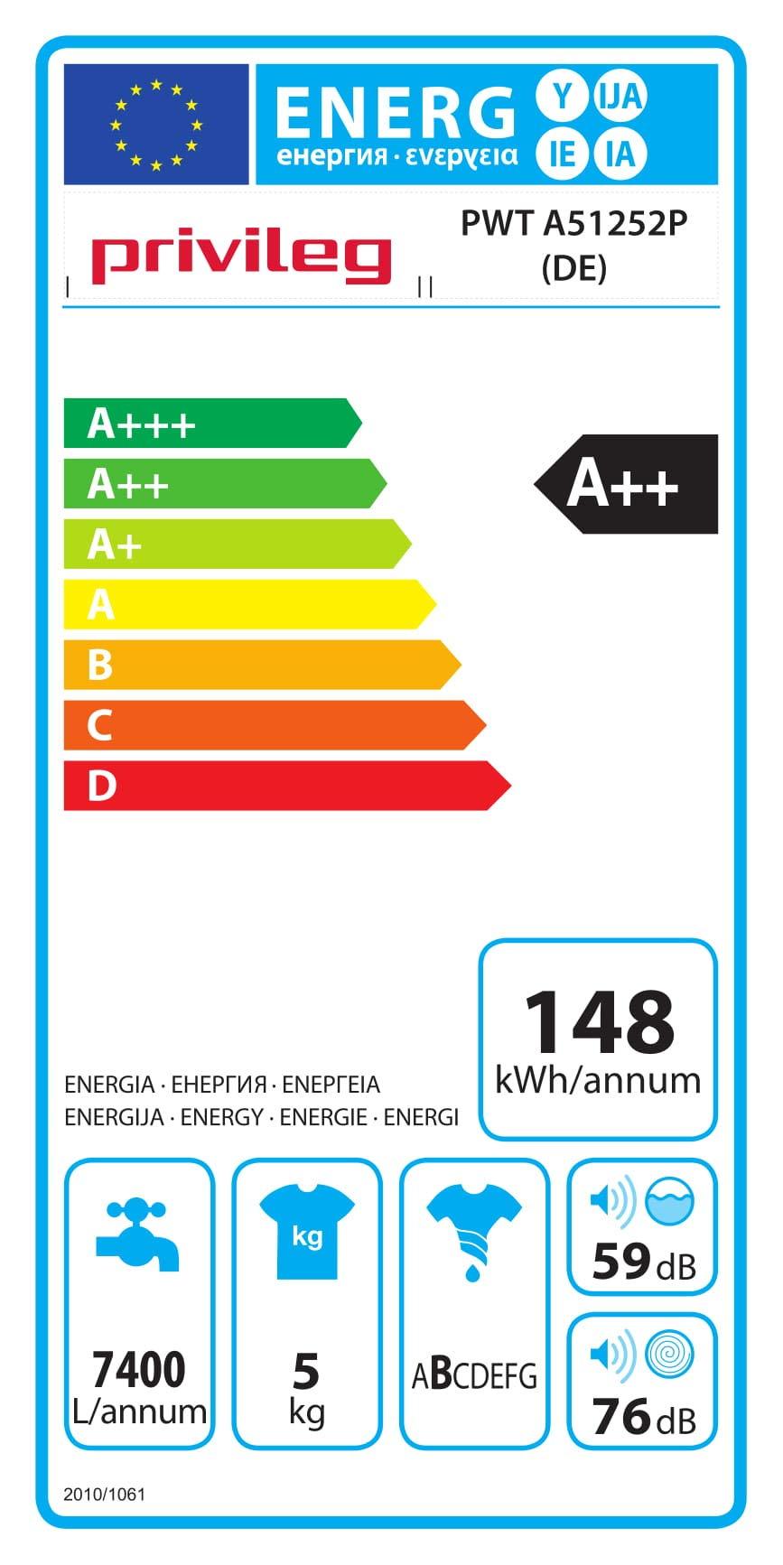 Privileg-PWT-A51252P-DE-Toplader-WaschmaschineA-5-kg-1200-UpMStartzeitvorwahlExtra-WaschenExtra-SplenWolle-ProgrammRapidWash-Programme-unter-59-Minuten