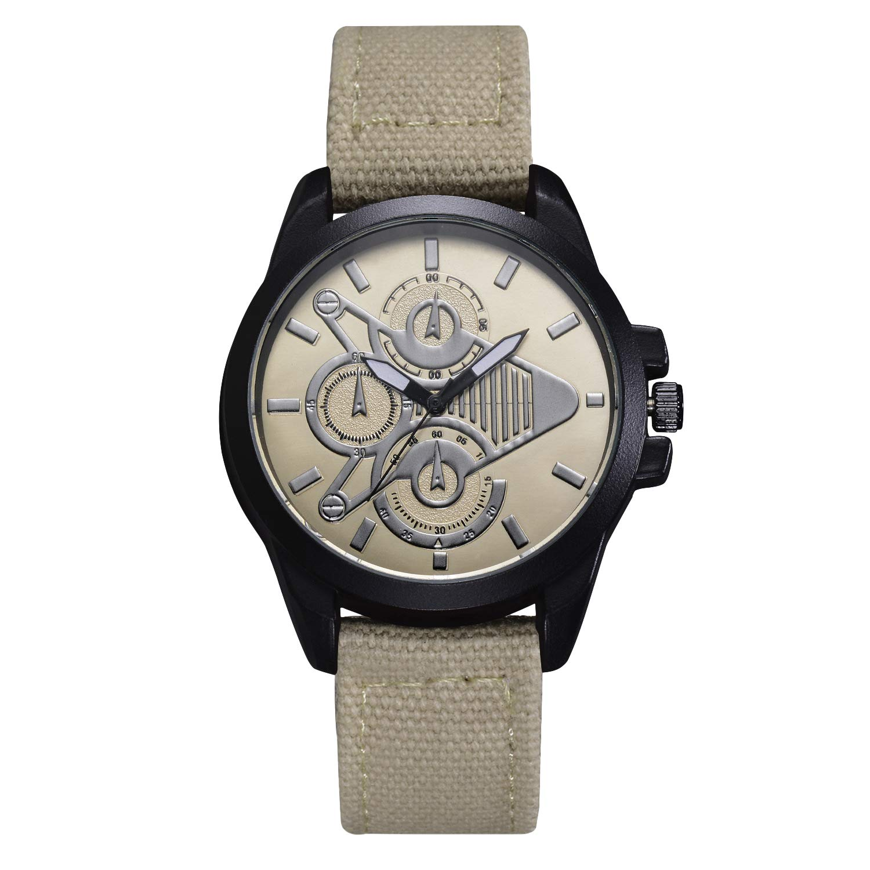 Godagoda-Herren-Armbanduhr-Analog-PU-Wasserdicht-Sportuhr-Quarz-Uhren-mit-DREI-Klein-Zifferblatt