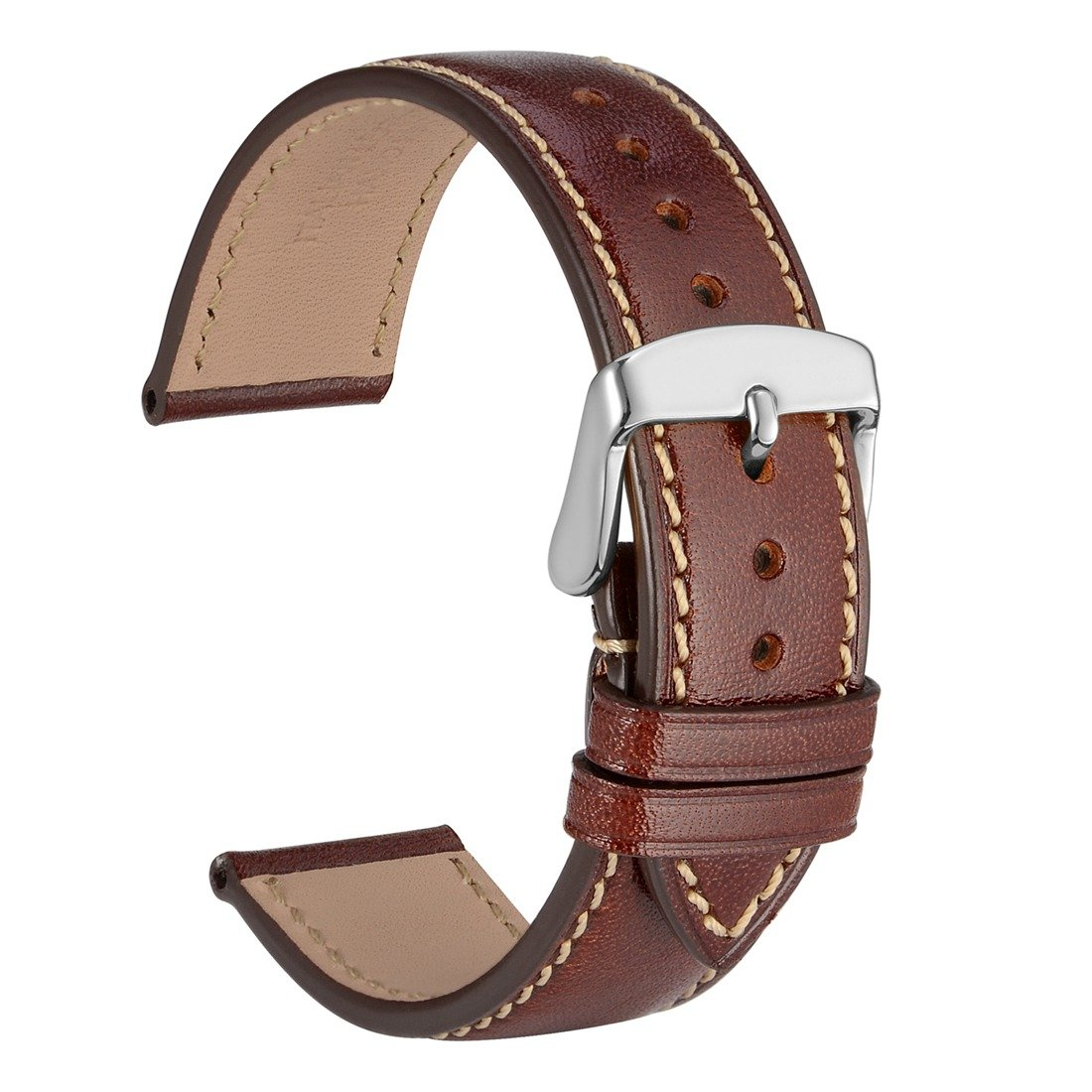 WOCCI-Uhrenarmband-Ersatz-Armbanduhr-Italien-Voll-Korn-Leder-18mm-20mm-oder-22mm