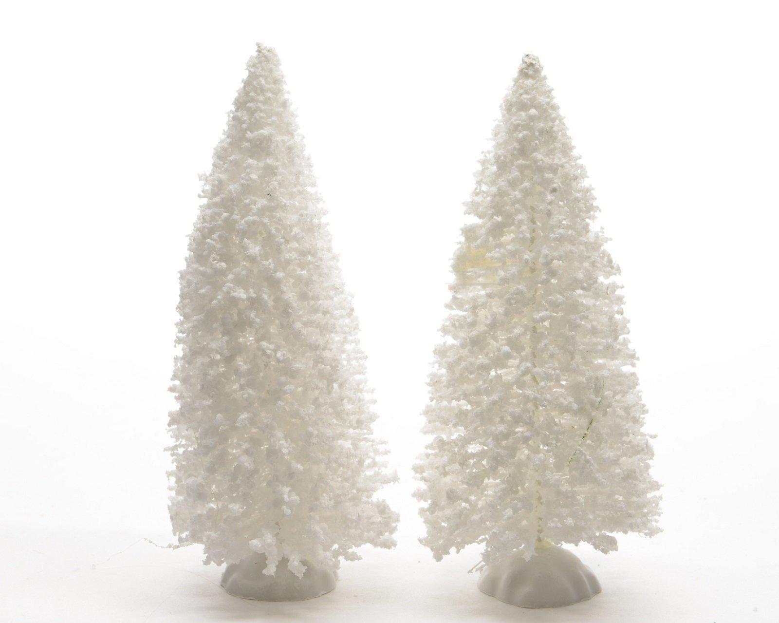 Weihnachtsdeko-Deko-Tischdeko-Weihnachtsbaum-verschneit-Baum-Miniatur-wei-H-15-cm-2-er-Set