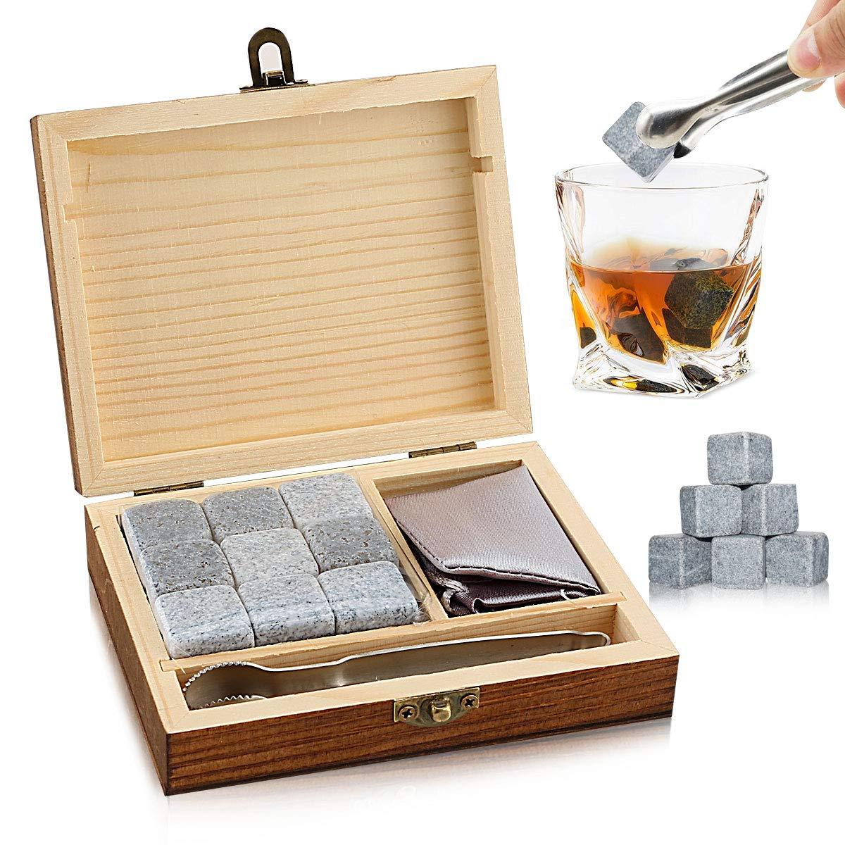 Whisky-Stones-Geschenkset-mit-9-Whisky-Rocks-aus-natrlichem-Speckstein-und-Granit-Chilling-Rocks-mit-stilvoller-Holzbox-und-gratis-Premium-Seidenbeutel